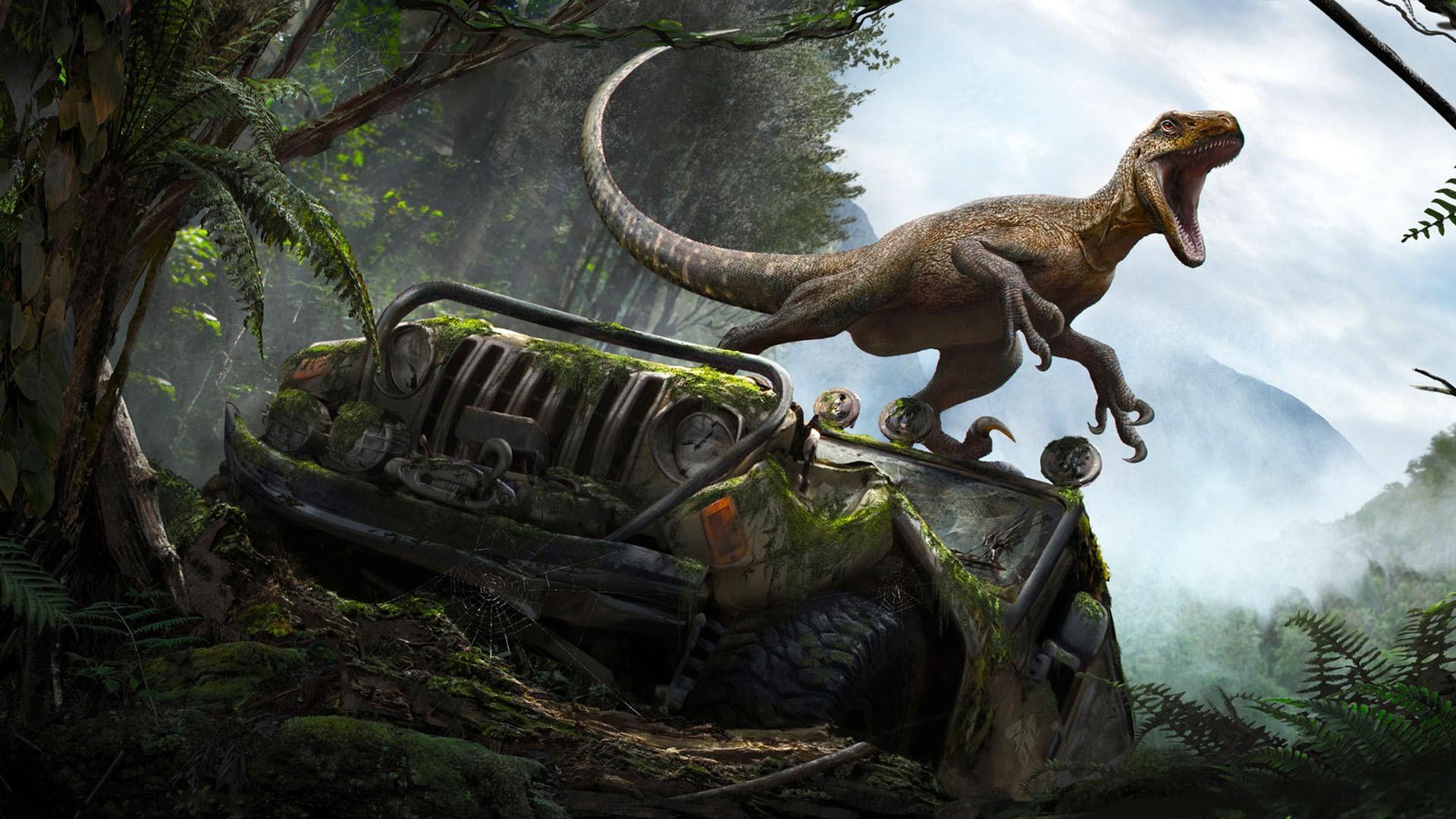 Fonds Décran Dinosaure Voiture Cassée Forêt Photo Dart