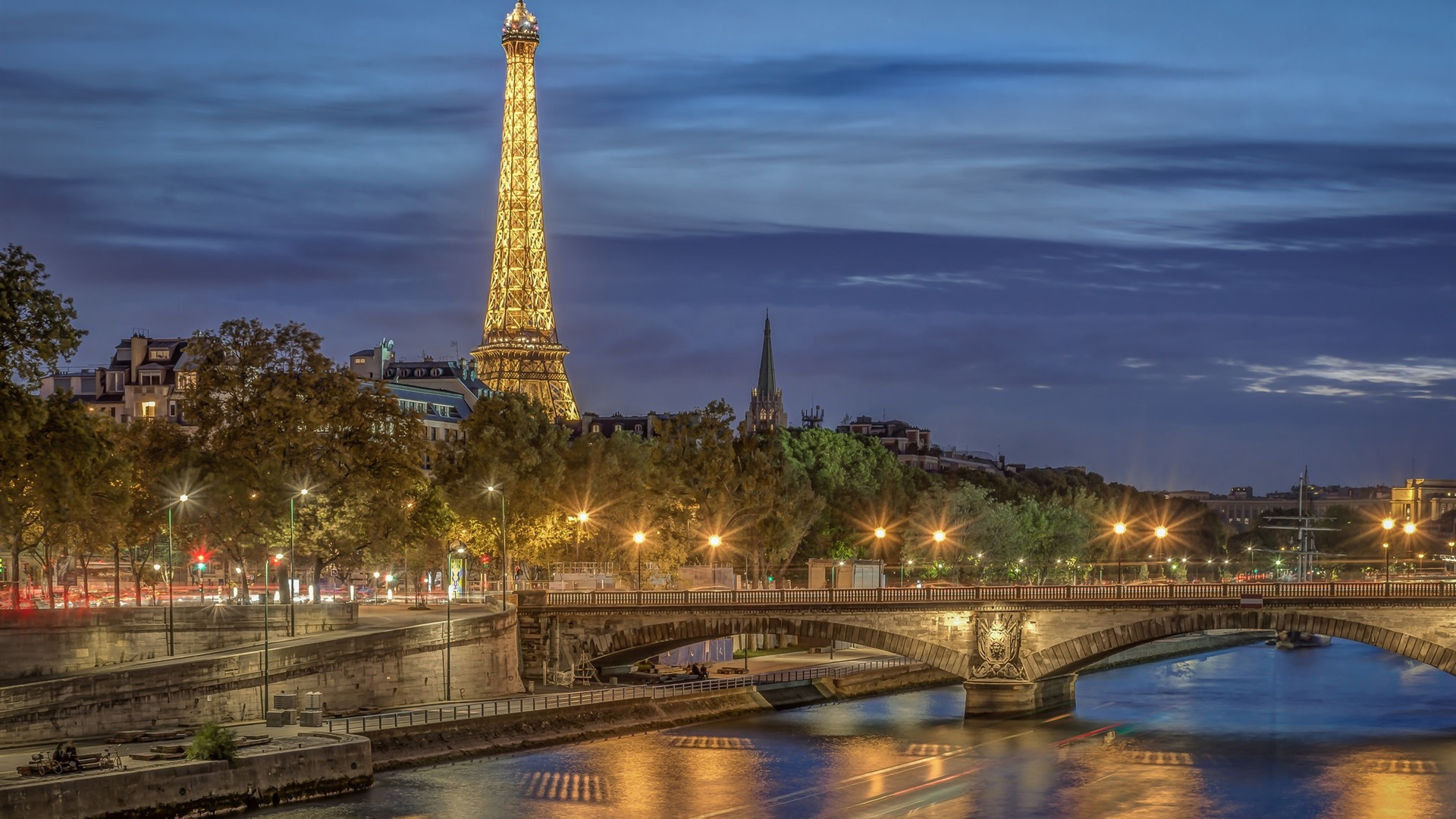 France Paris City Night Eiffel Tower River Bridge