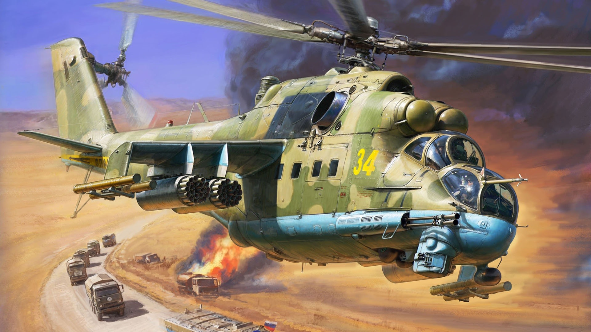 Wallpaper Helicopter Cars Army Art Picture 1920x1080 Full