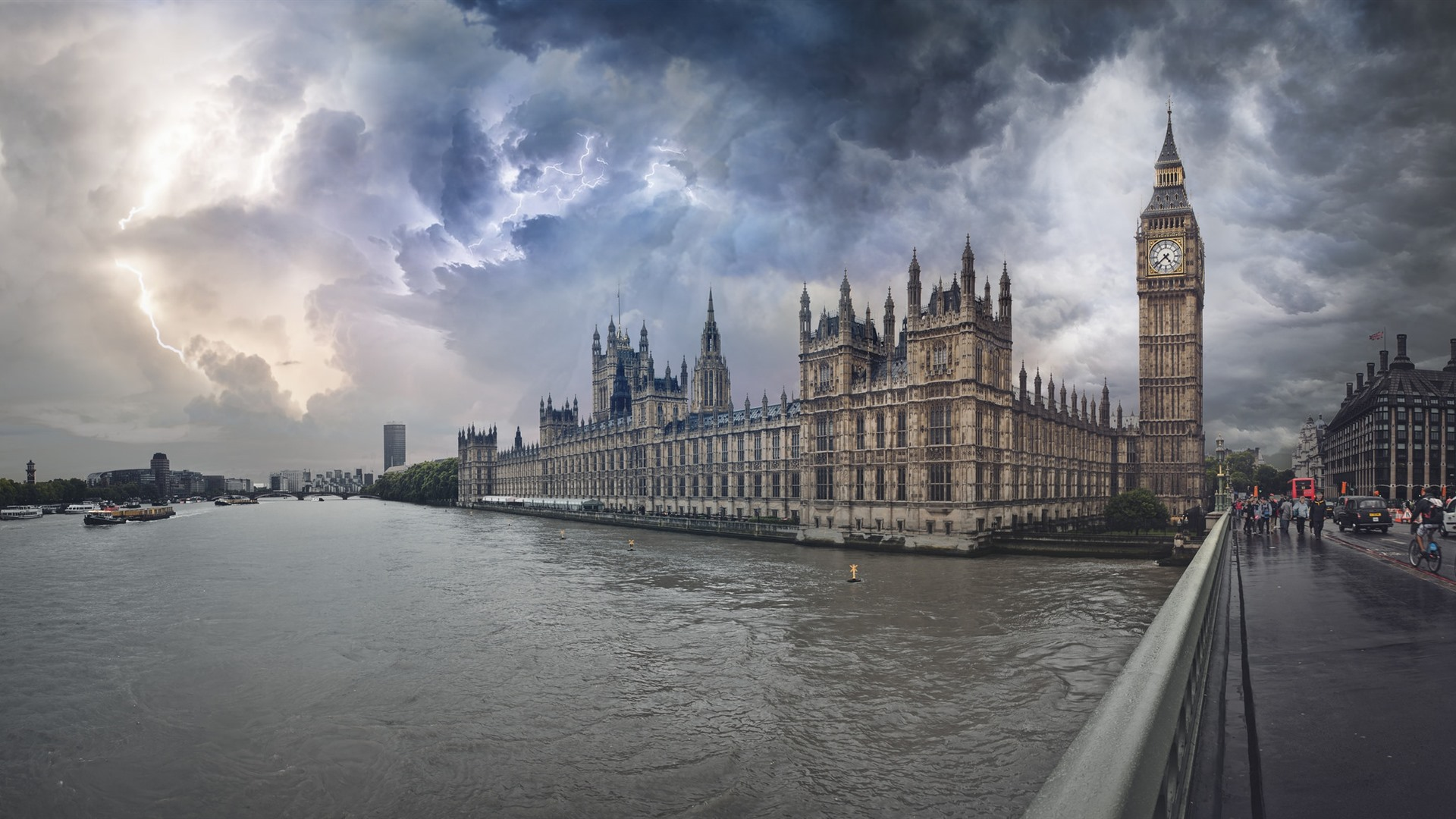 Wallpaper London Big Ben River Bridge Storm Lightning