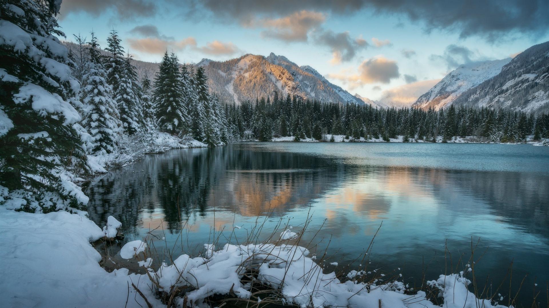 Wallpaper Winter, snow, lake, mountains