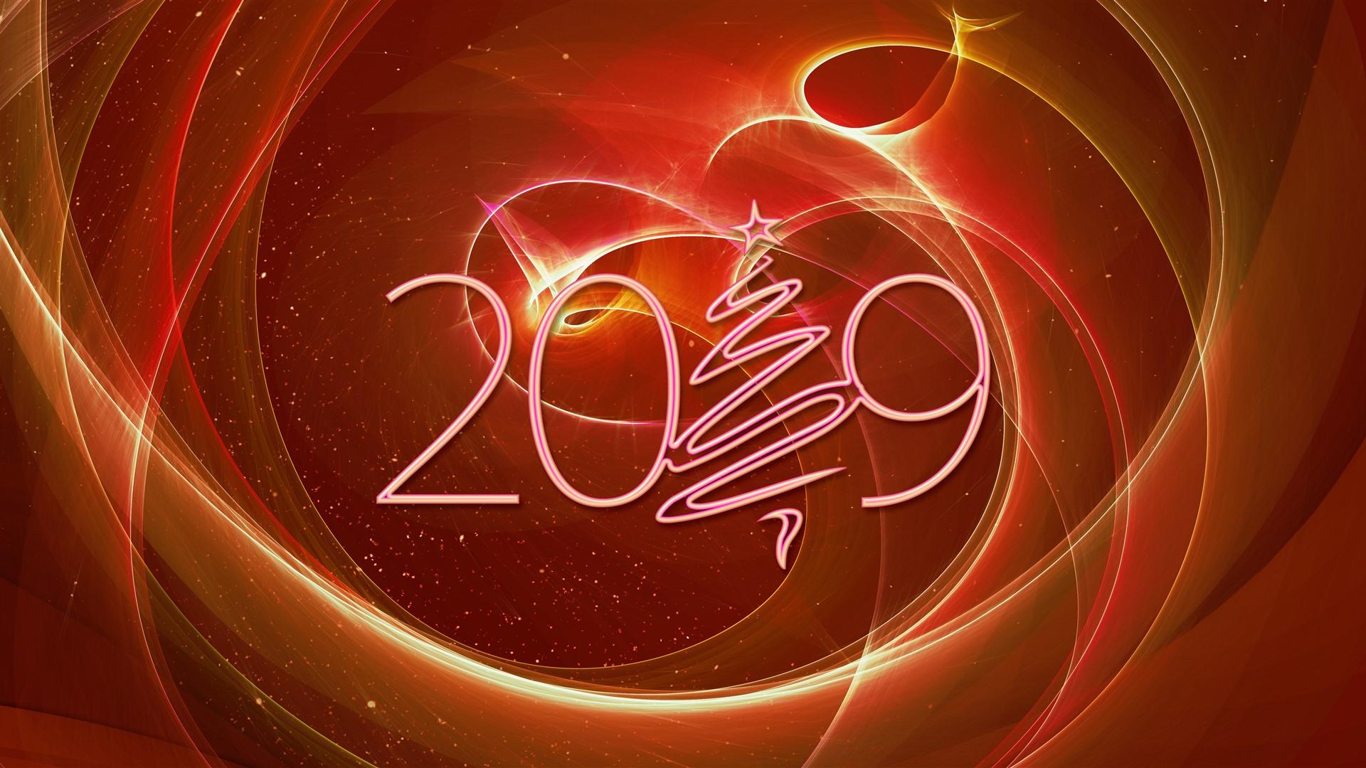 Wallpaper 2019 New Year, Christmas tree, creative design