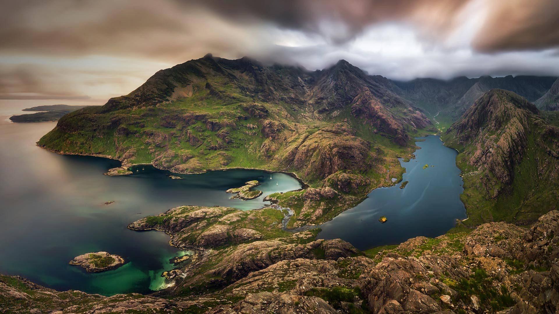 Wallpaper Scotland Isle Of Skye Mountains Sea Top View 1920x1080