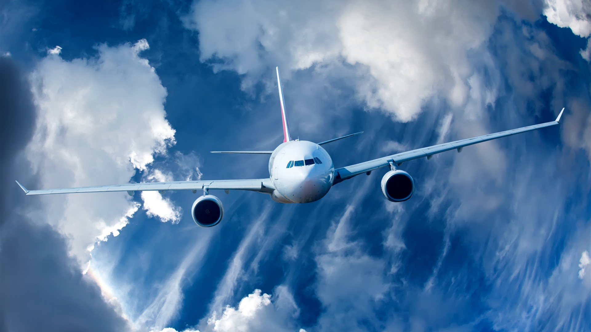 Wallpaper Airplane Clouds Sky Front View 5120x2880 Uhd 5k Picture Image