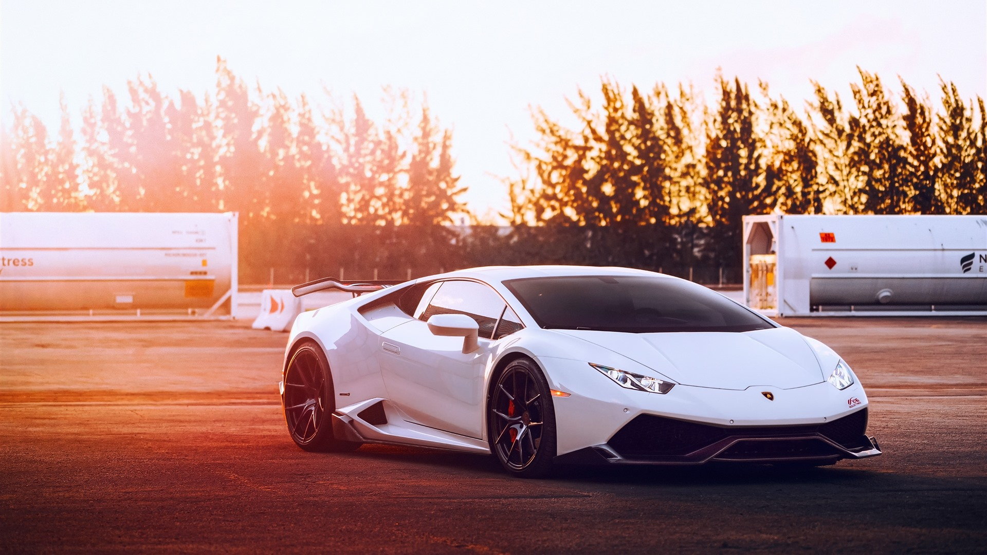 Wallpaper Lamborghini Huracan White Supercar Sunset