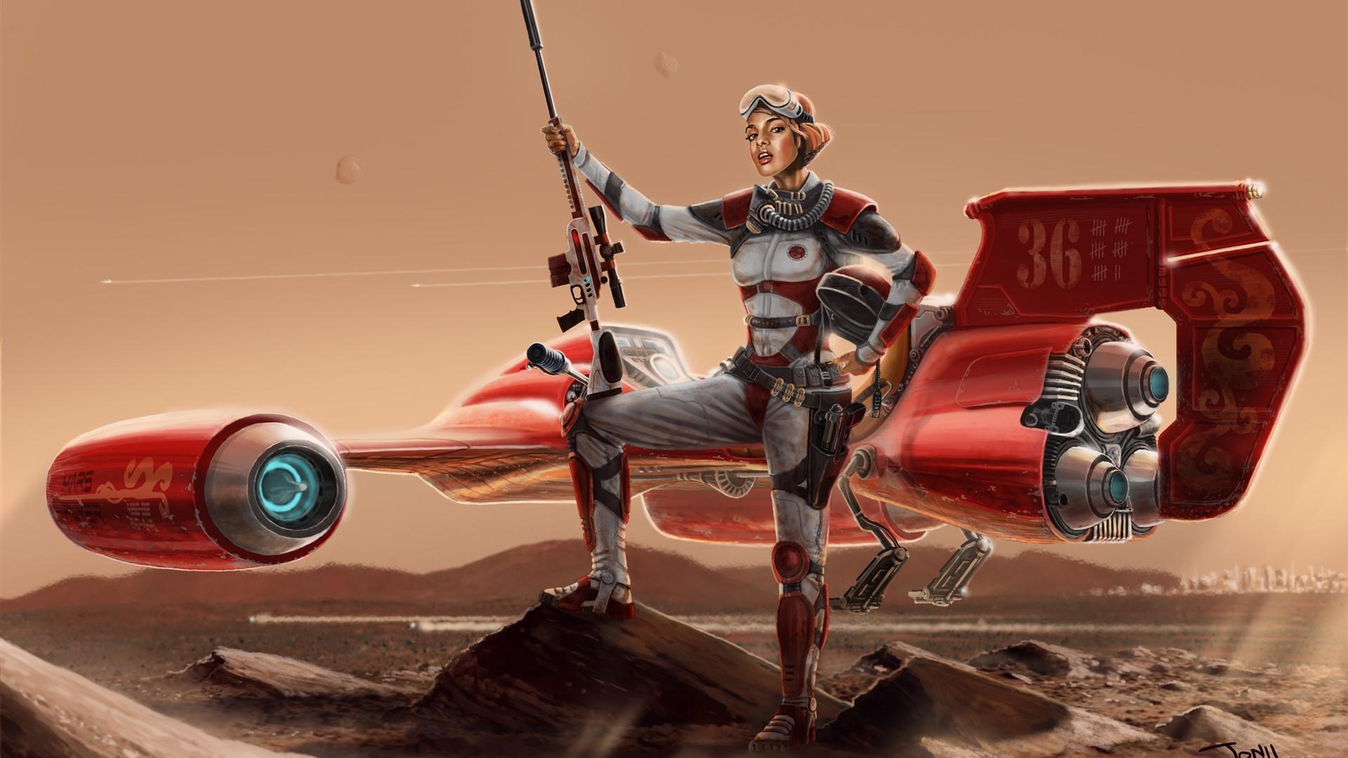 Wallpaper Fantasy Girl Aircraft Future Sci Fi 3840x2160