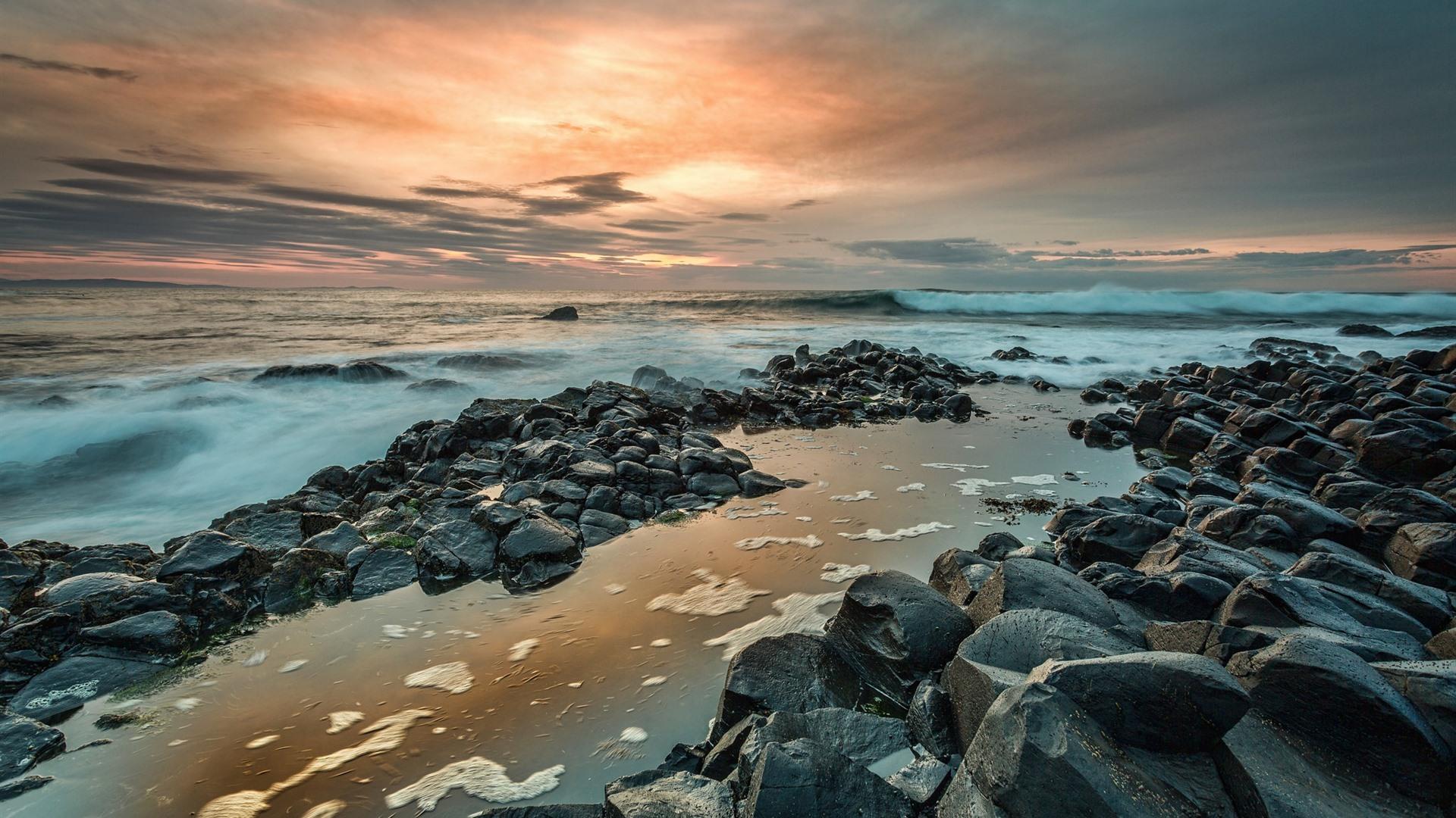 Northern Ireland Giant S Causeway Rocks Sea Sunset