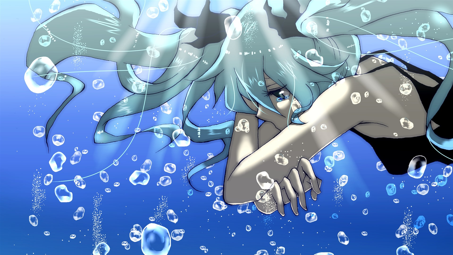 Wallpaper Sadness Anime Girl Blue Hair Tears Water Bubbles