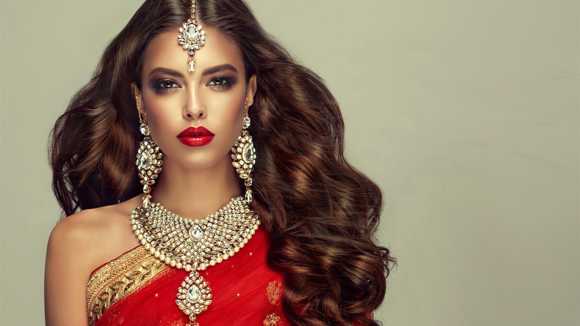 Wallpaper Indian Girl Fashion Hairstyle Necklace Earring