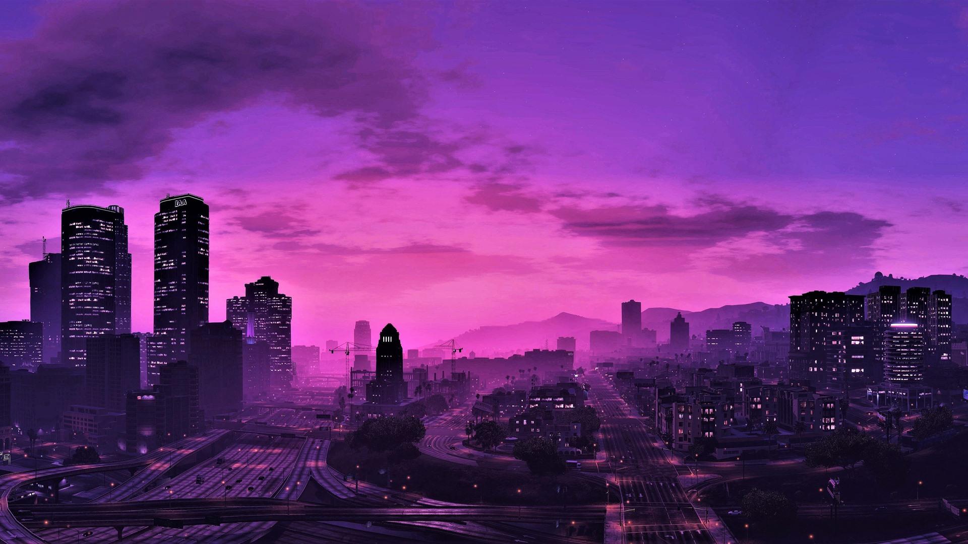 Gta 5 Stadt Bei Nacht Lila Stil Wolkenkratzer 3840x2160