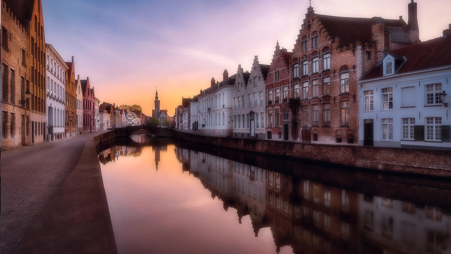 Обои канал, бельгия, брюгге, дома, ночь. Города foto 18
