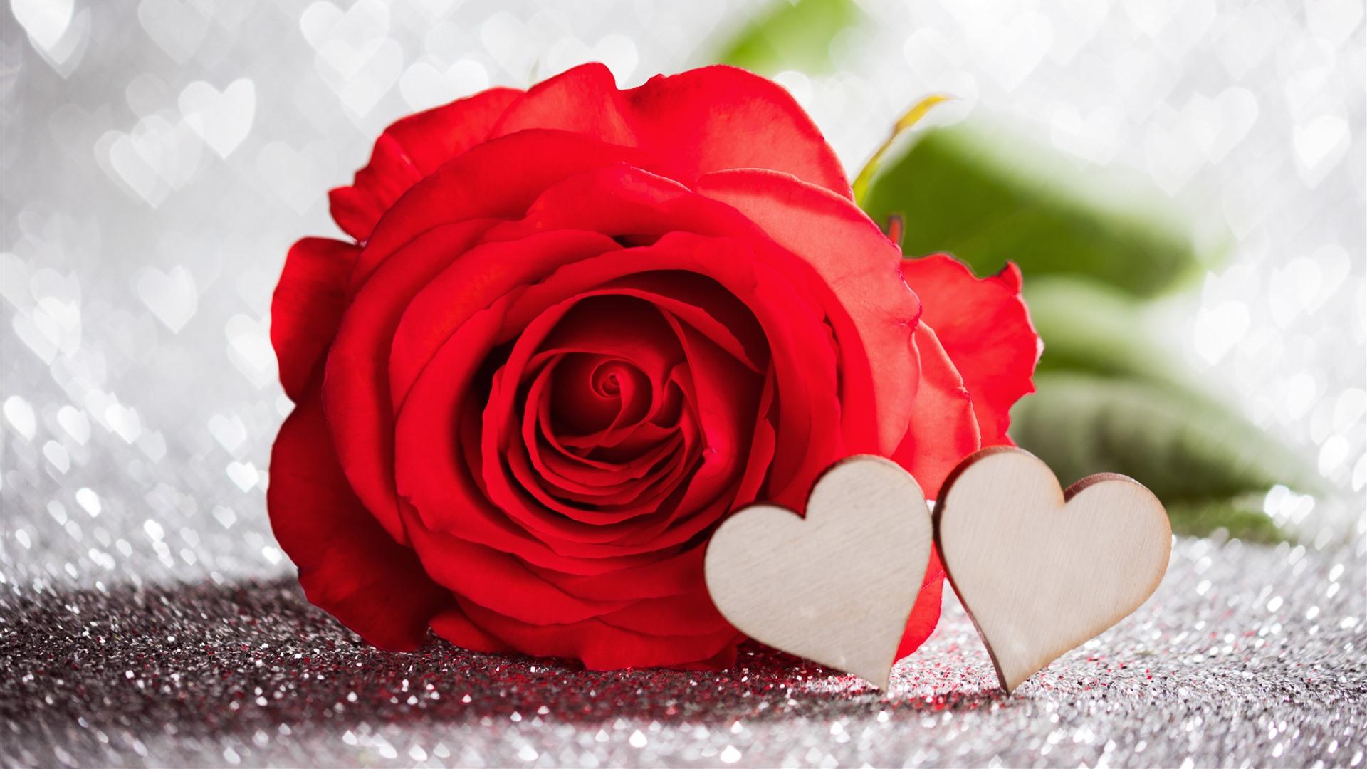 Wallpaper Red Rose Love Hearts Hazy Romantic 5120x2880 Uhd 5k