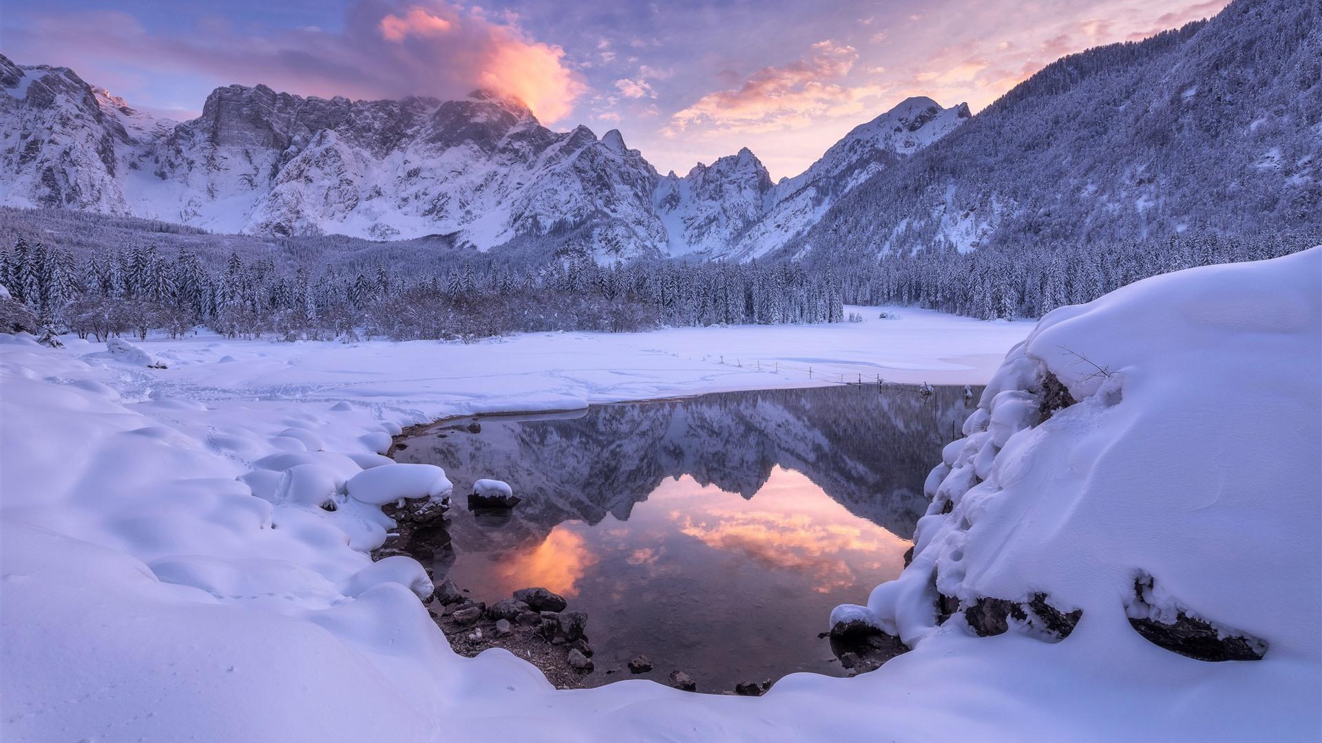 Fonds Décran Paysage Dhiver Magnifique Neige Lac