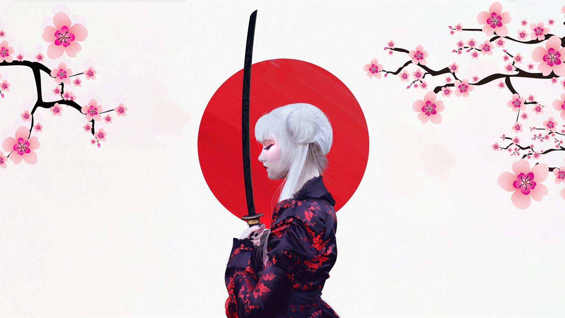 Wallpaper Japanese Girl Kimono Sakura Sword Art Picture