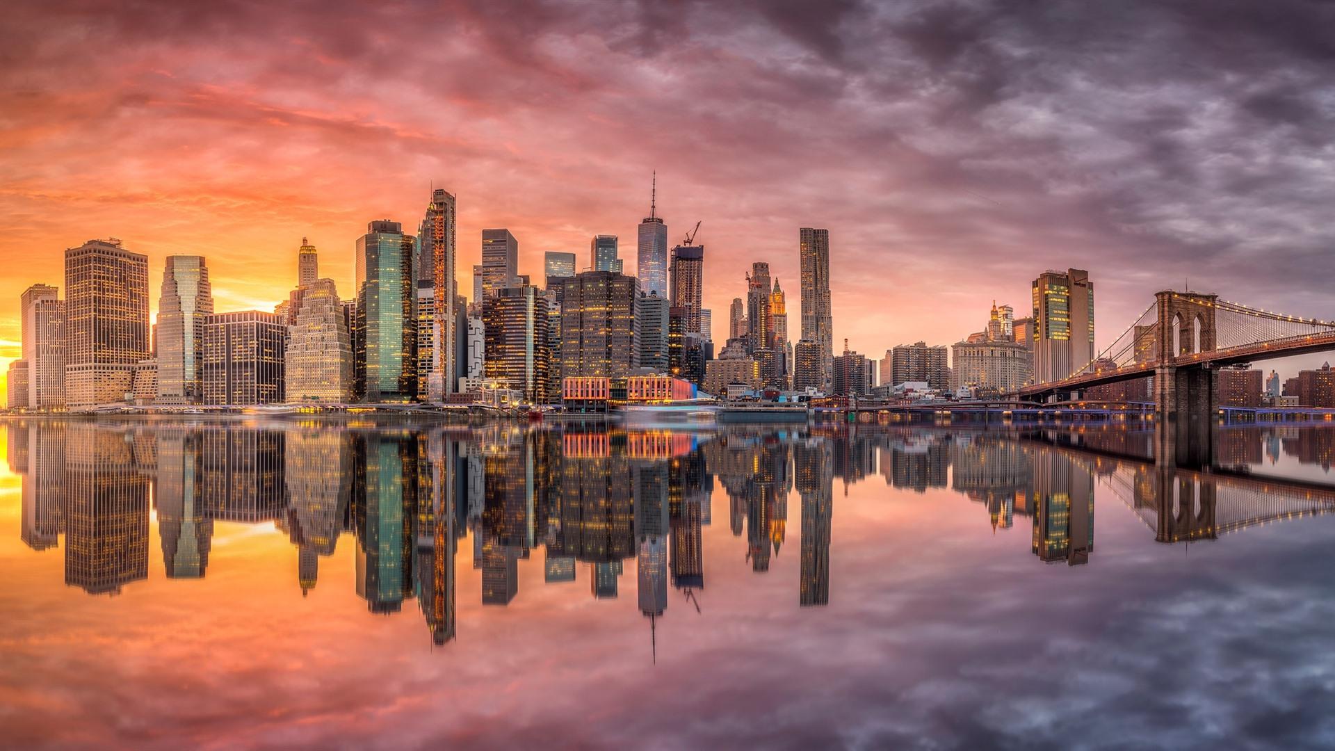 New York Usa Wolkenkratzer Lichter Fluss