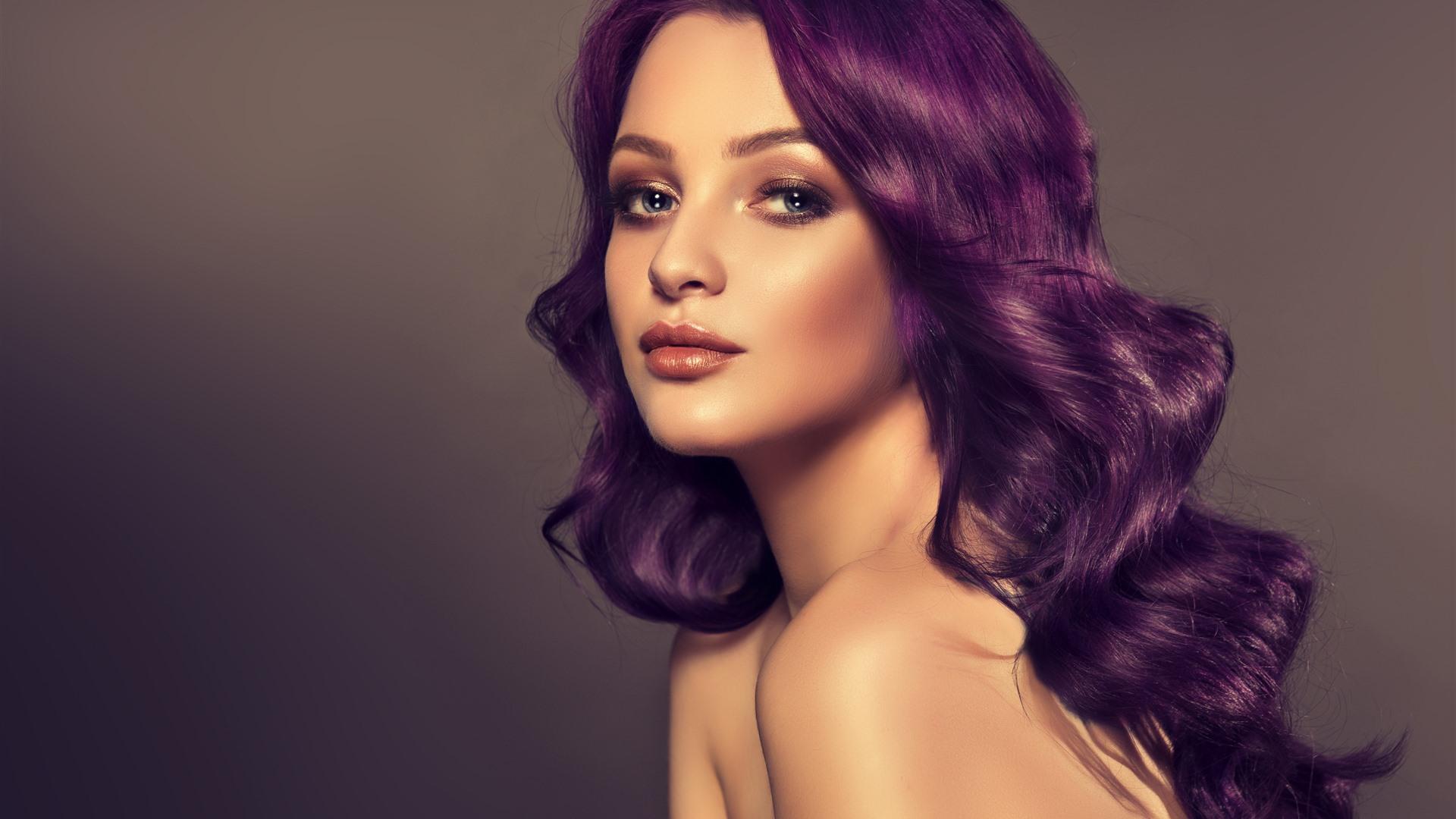 Wallpaper Purple hair girl, hairstyle, face, fashion 2880x1800 HD ...