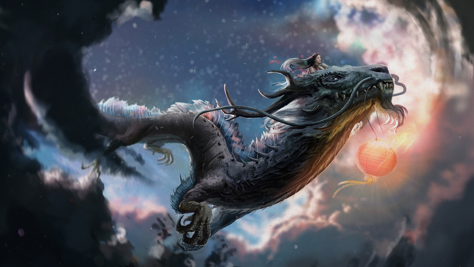 Chinese dragon, girl, art picture