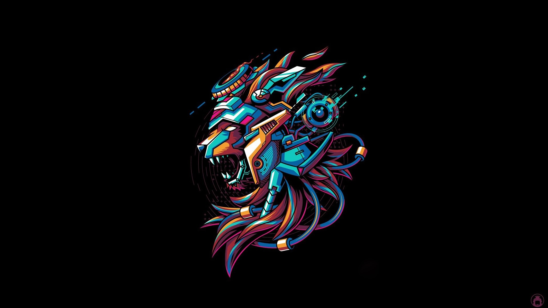Wallpaper Lion, mecha, black background