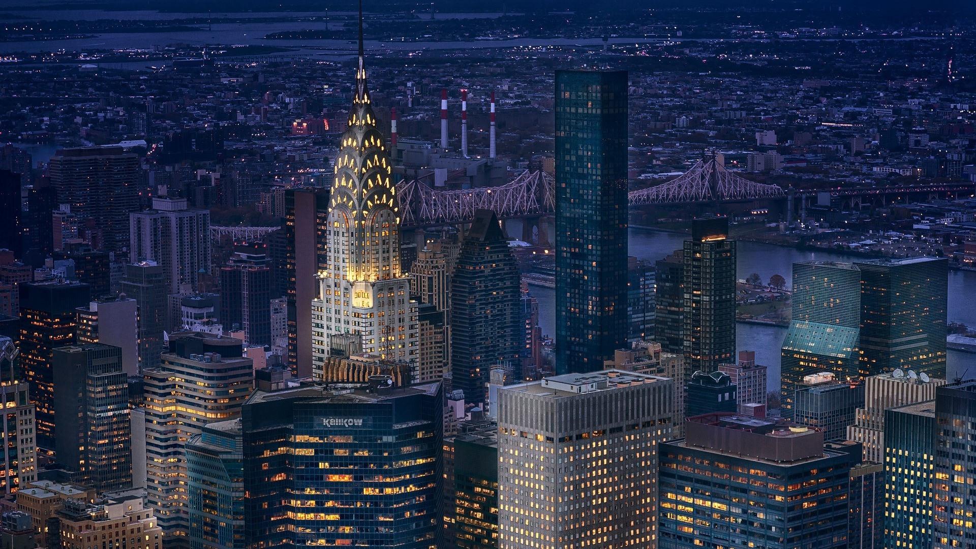 New York Manhattan Usa Wolkenkratzer Lichter Nacht