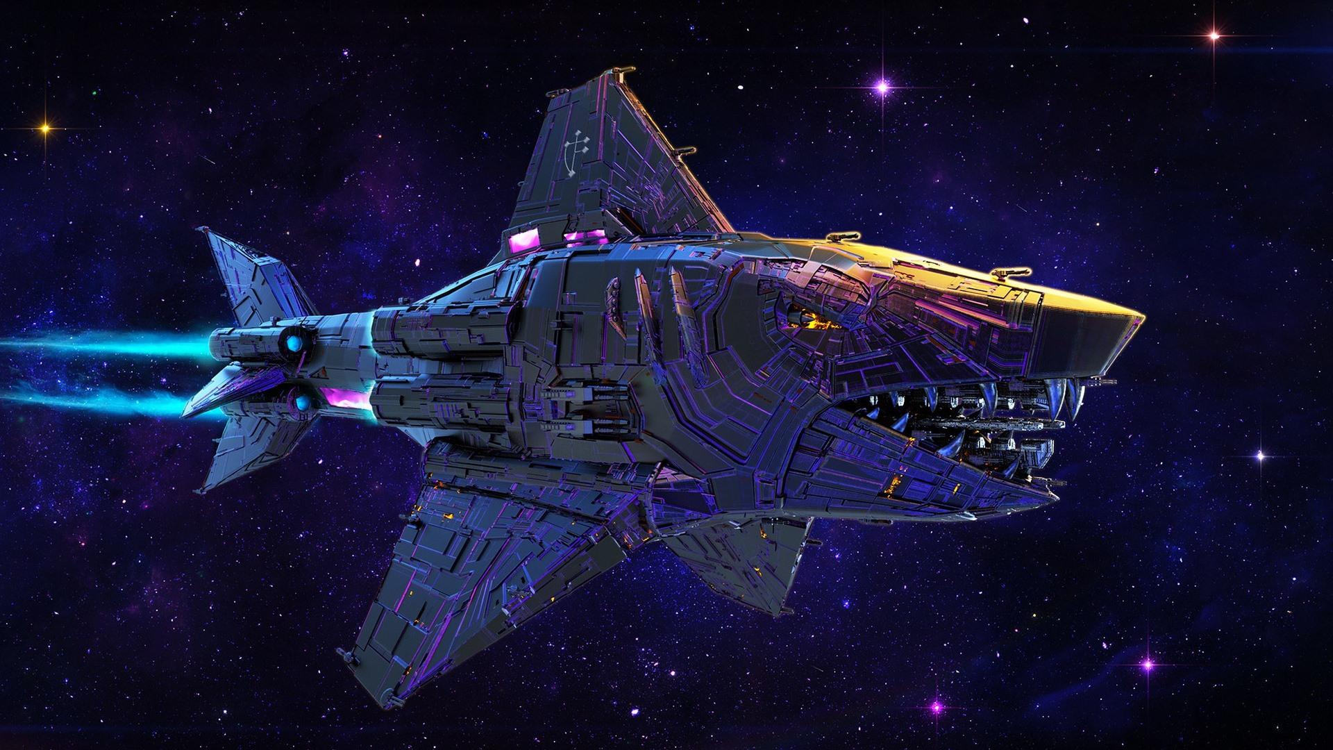 壁紙 宇宙船 サメ 宇宙 創造的なデザイン 1920x1200 Hd 無料の