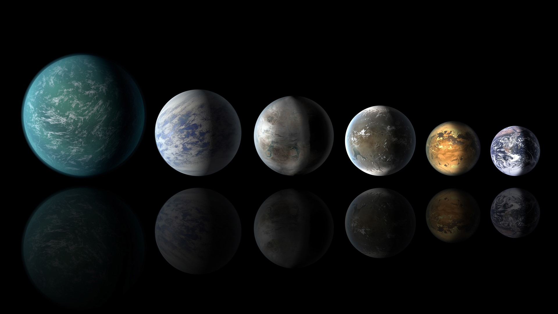 Wallpaper Solar System Six Planets Black Background