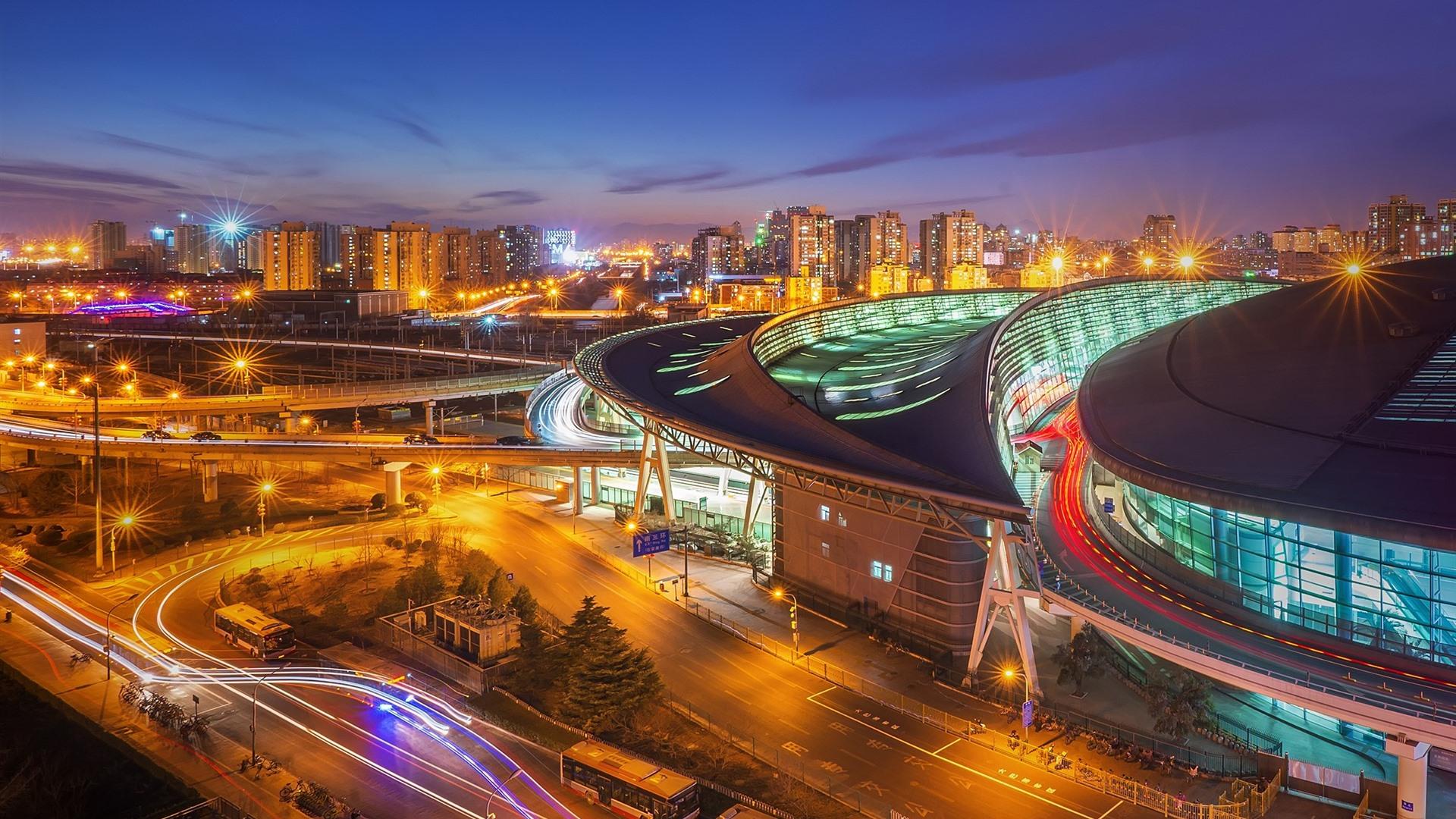 壁紙 夜の街 ライト 北京南駅 中国 19x10 Hd 無料のデスクトップの背景 画像