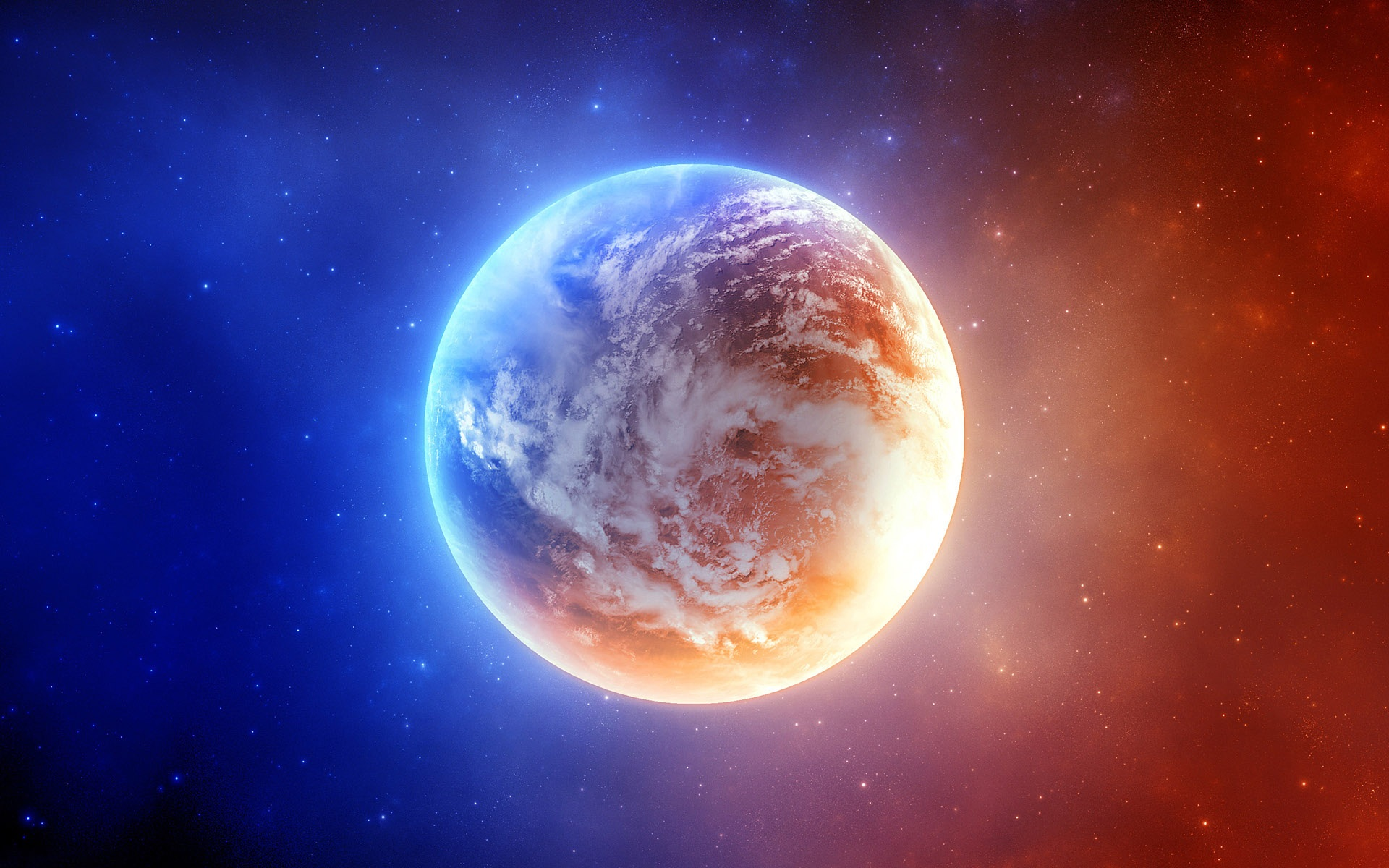 Wallpaper Blue And Orange Light Of The Earth 1920x1200 Hd