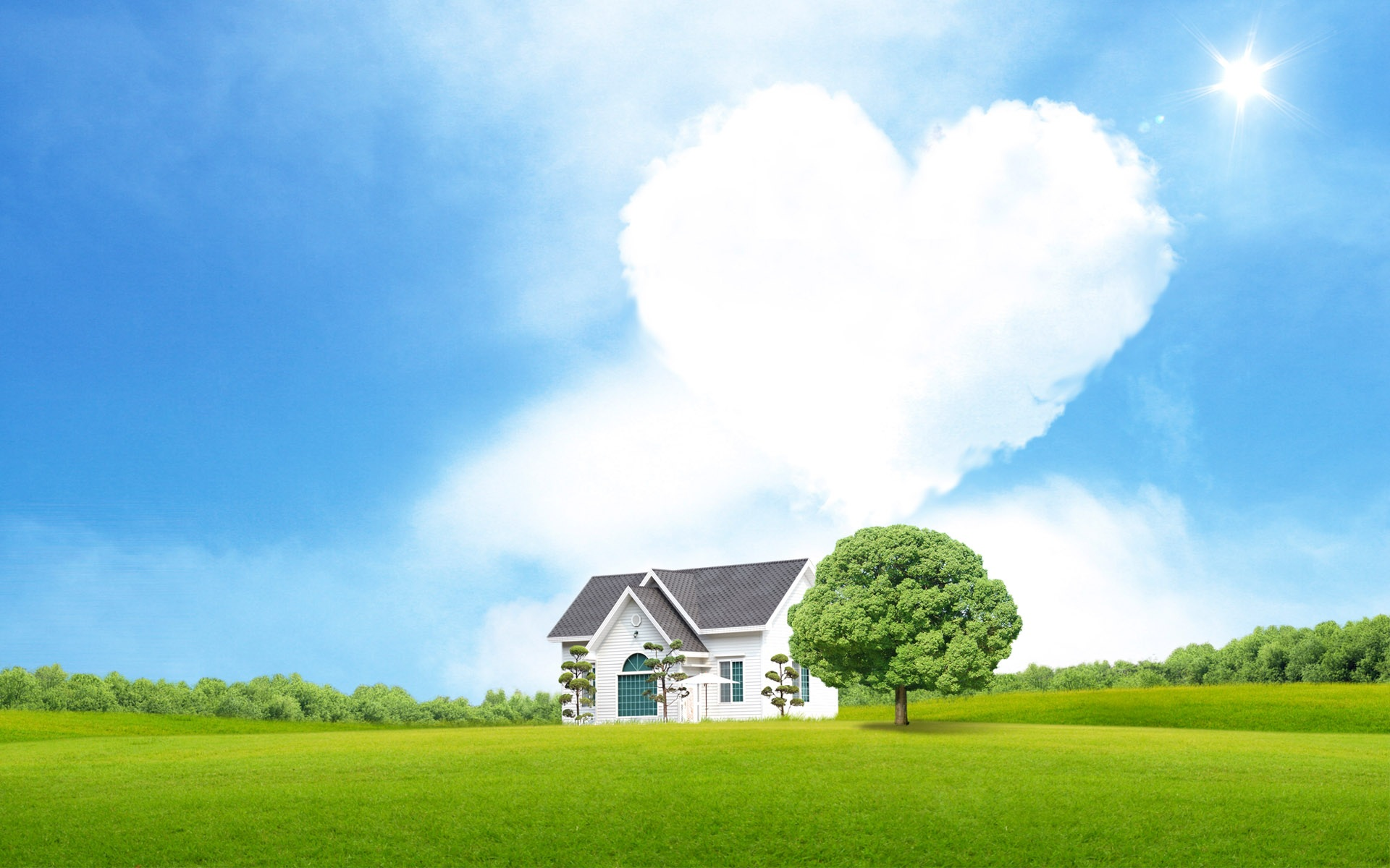 wallpaper heart-shaped clouds of love 1920x1200 hd picture, image