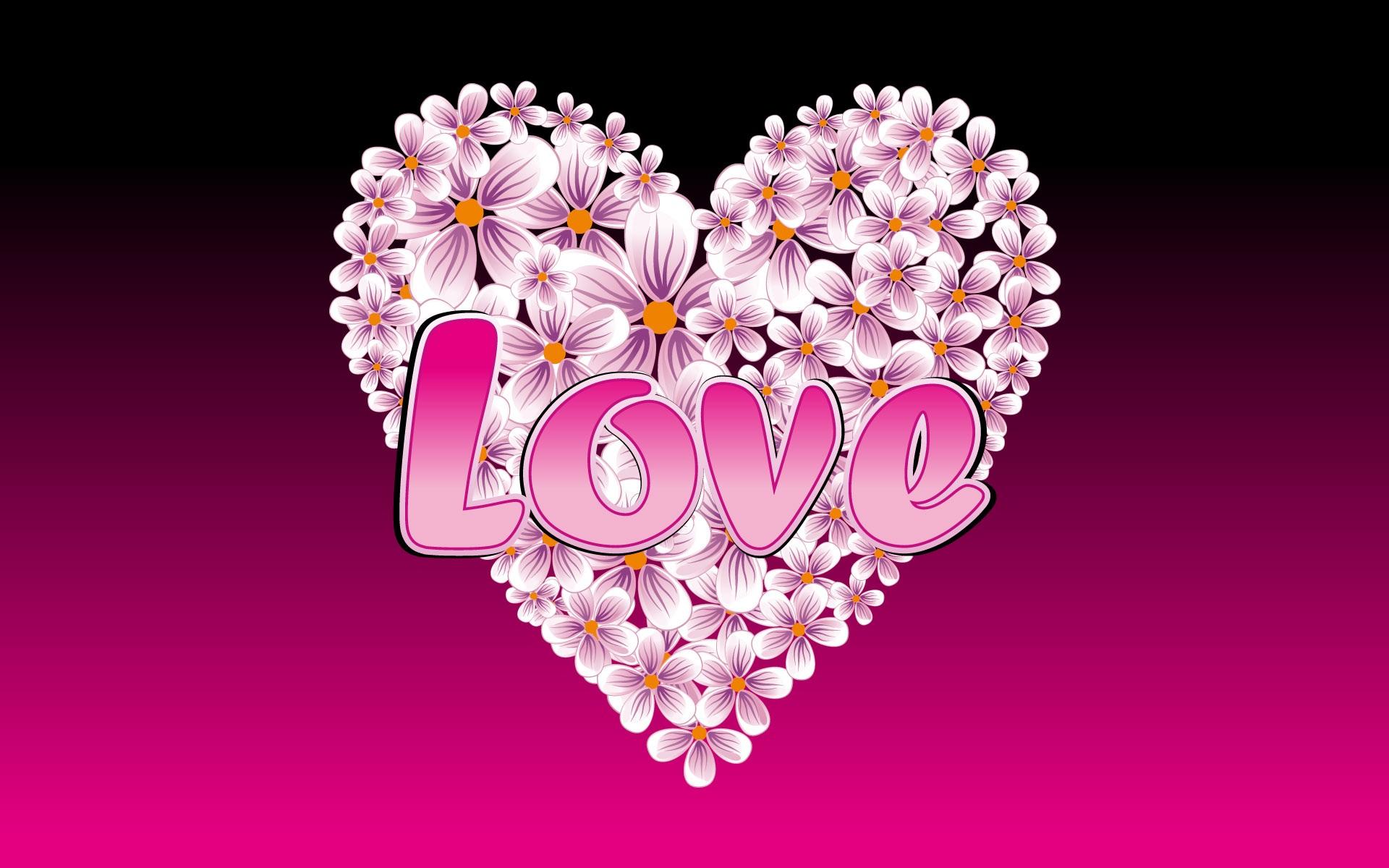 배경 화면 사랑의 하트 모양의 꽃 1920x1200 HD 그림, 이미지