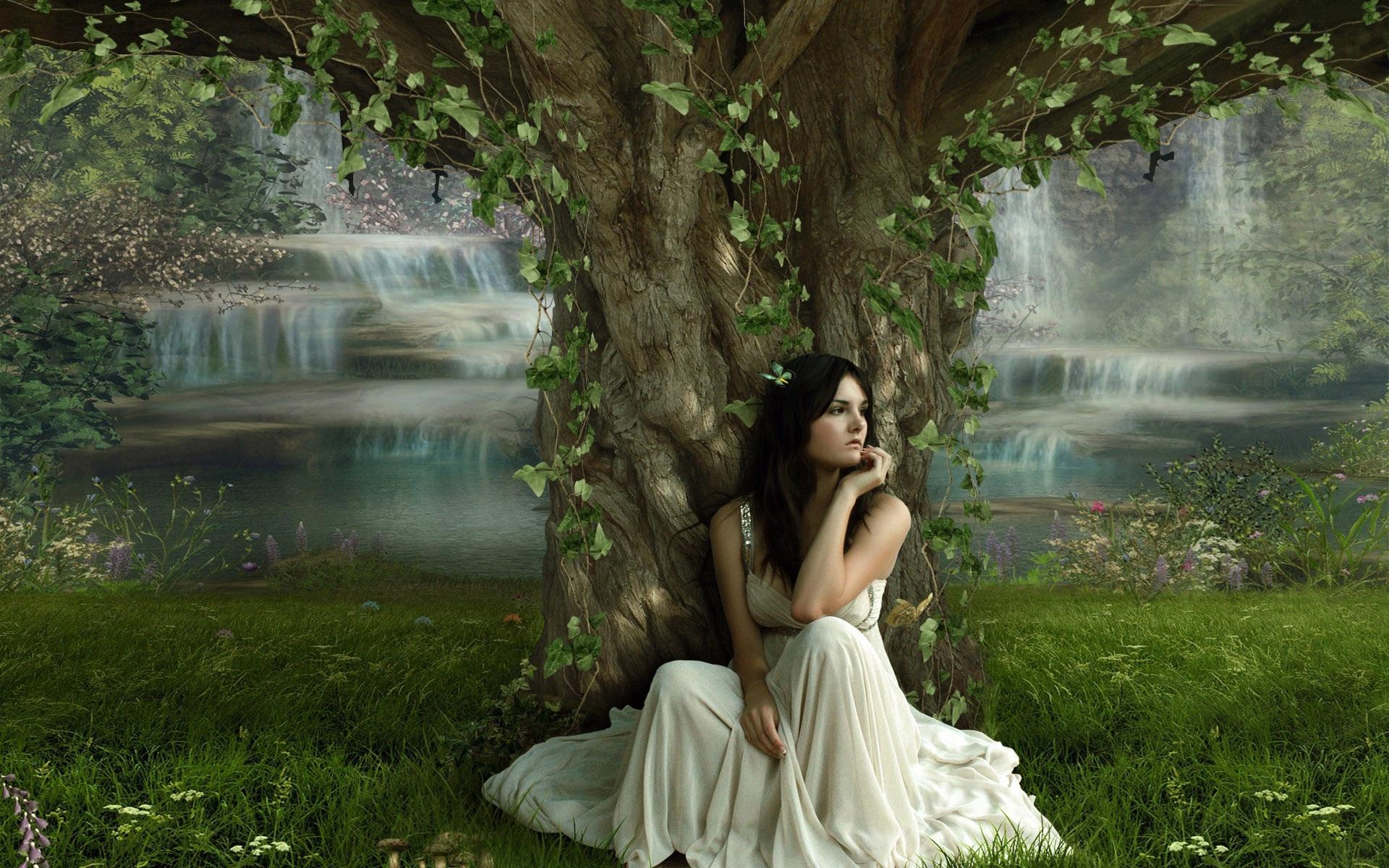 девушка платье озеро деревья без смс