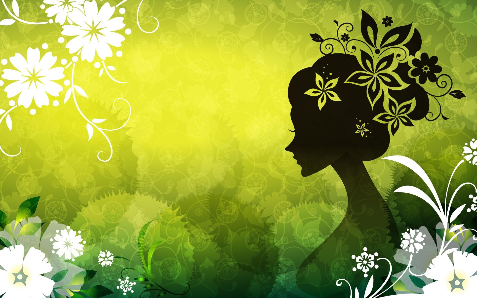 Wallpaper Vector Women Green Flowers 1920x1200 HD Picture Image