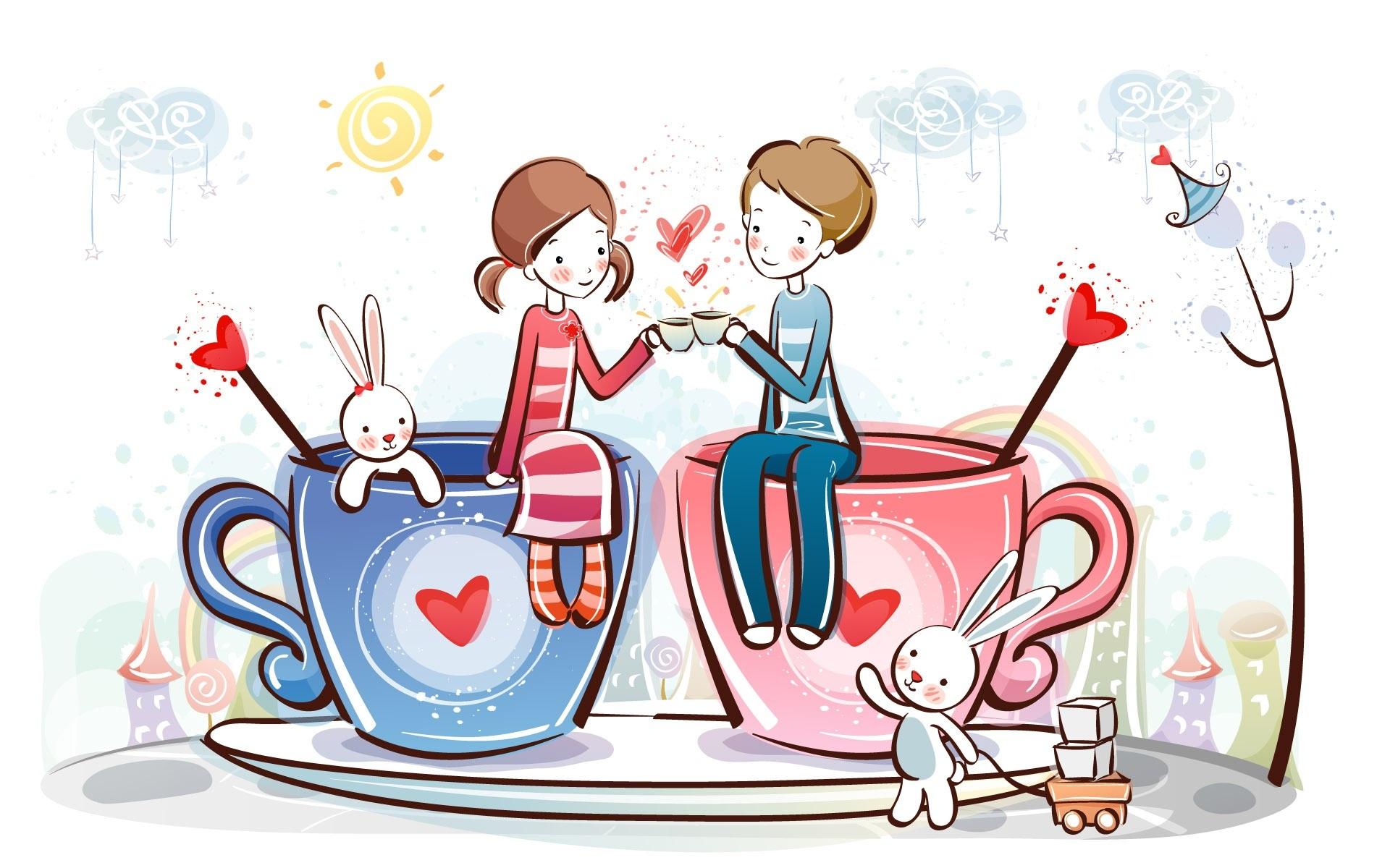 浪漫愛情咖啡 壁紙 - 1920x1200
