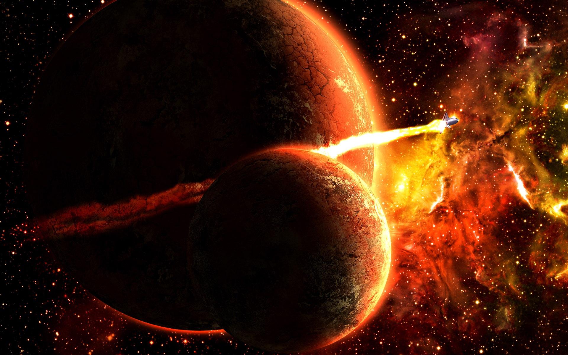 Обои Планета и спутник картинки на рабочий стол на тему Космос - скачать  № 43083 без смс