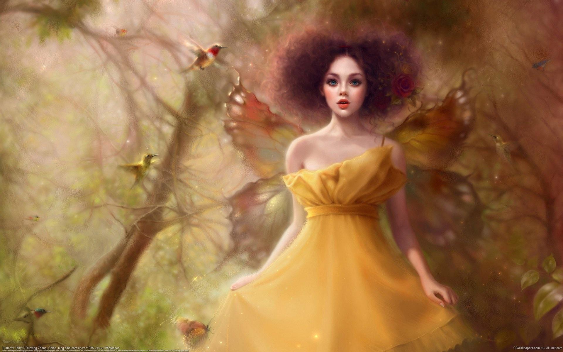 Желтая юбка крылья бабочки девушки
