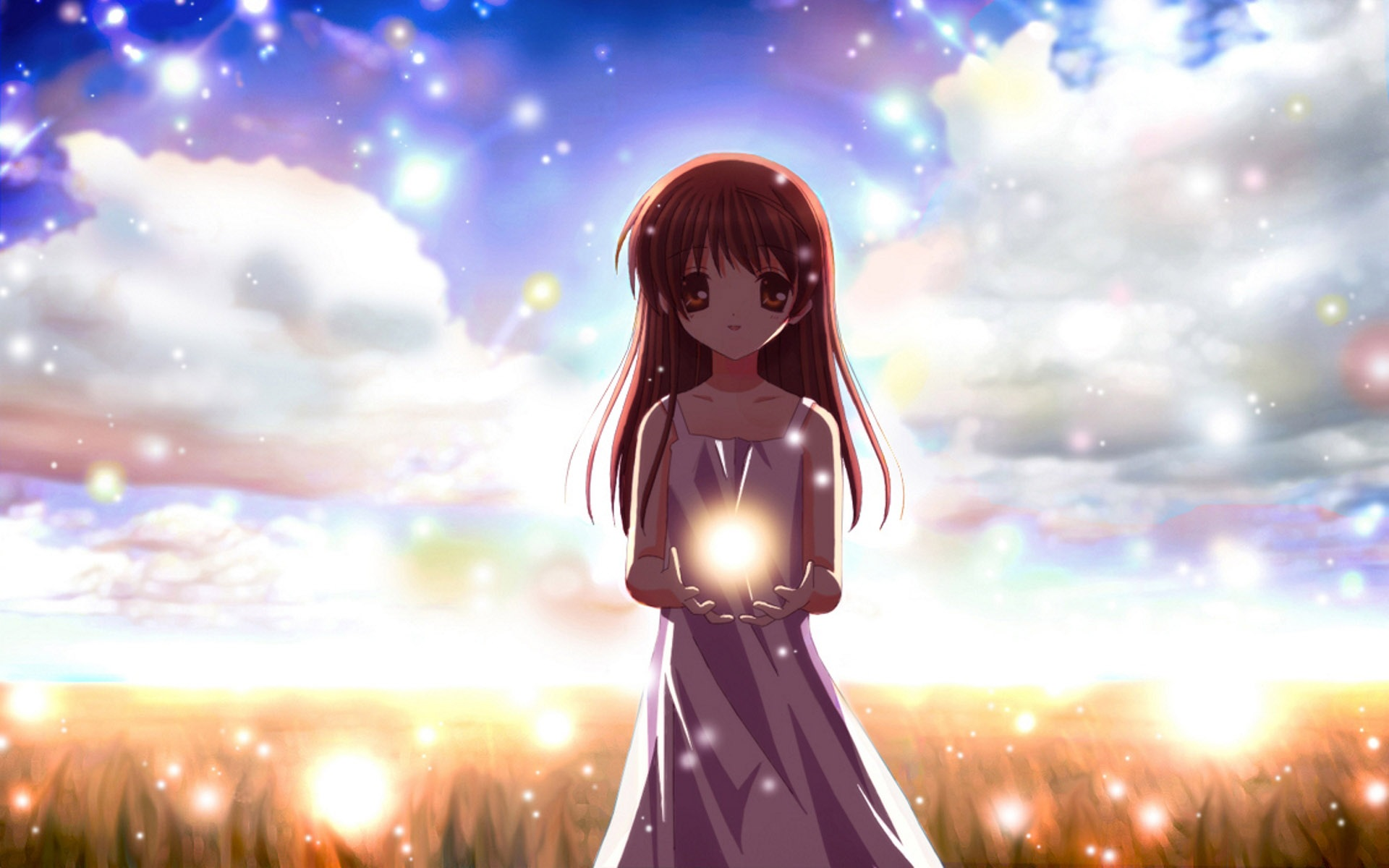Wallpaper Cartoon Girl Holding A Ball Of Light 1920x1200 Hd Picture