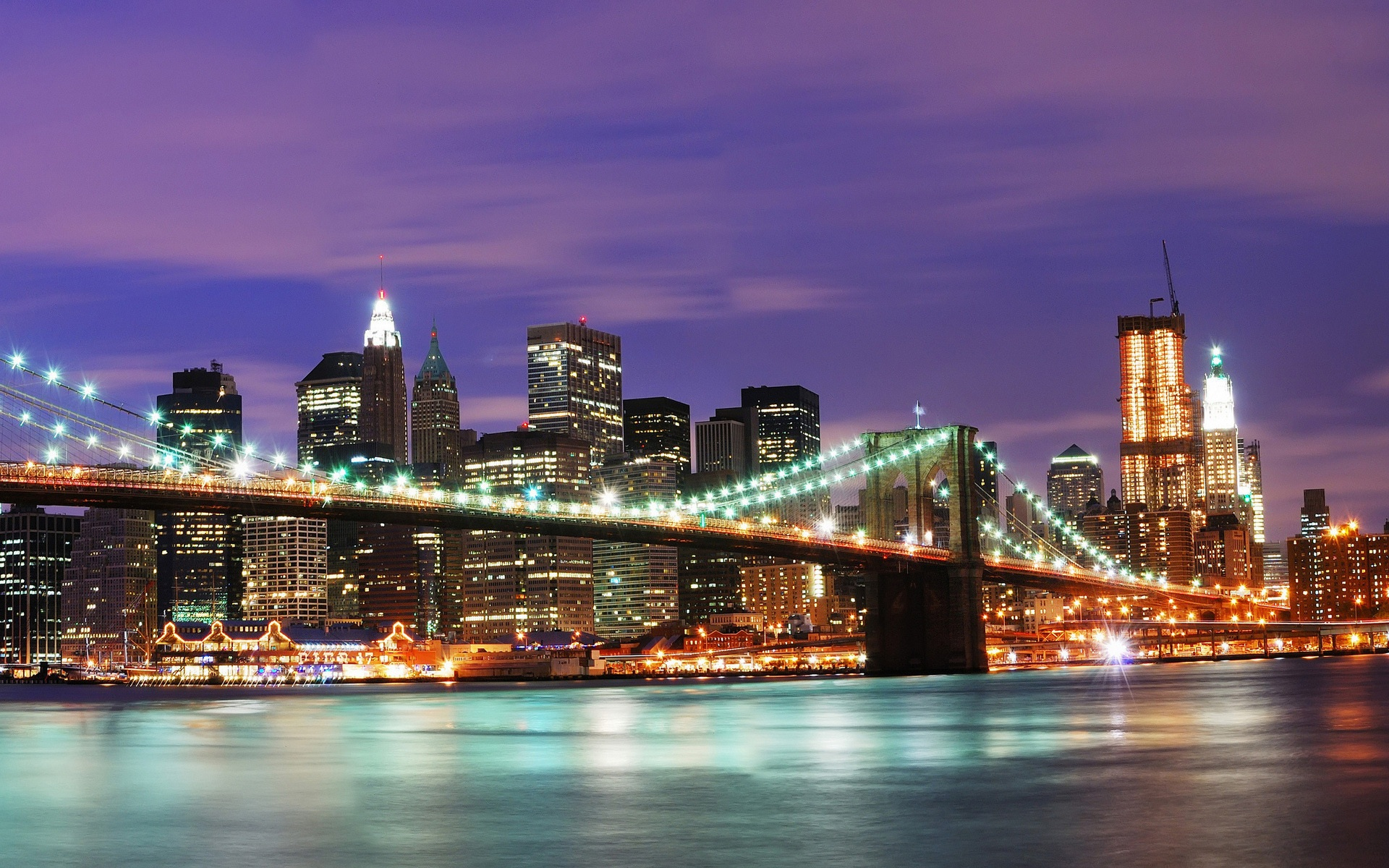 United States New York City night wallpaper - 1920x1200