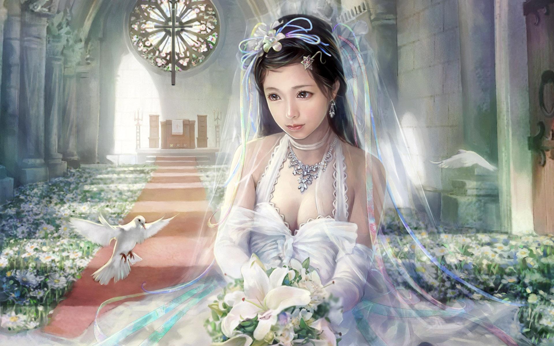 Wallpaper Beautiful white wedding dress fantasy girl 1920x1200 HD ...