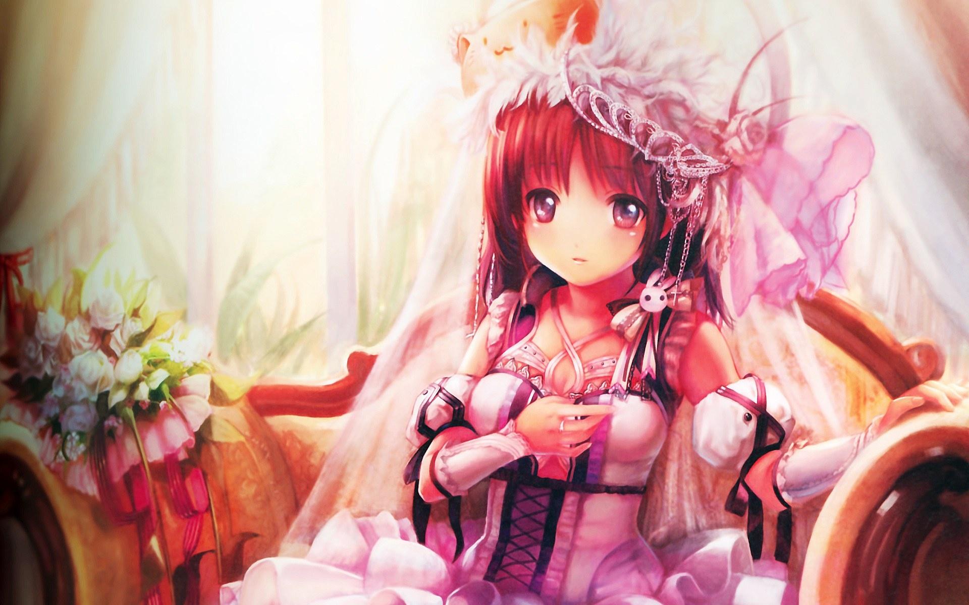 壁紙 かわいいアニメの女の子はドレスアップ 1920x1200 Hd 無料の