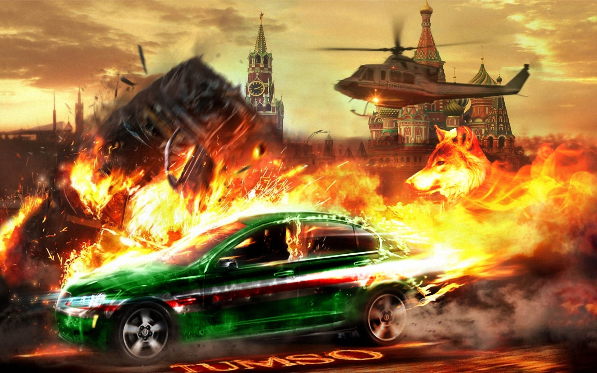 Download wallpaper 1920x1200 helicopter chase car kremlin for Chaise auto