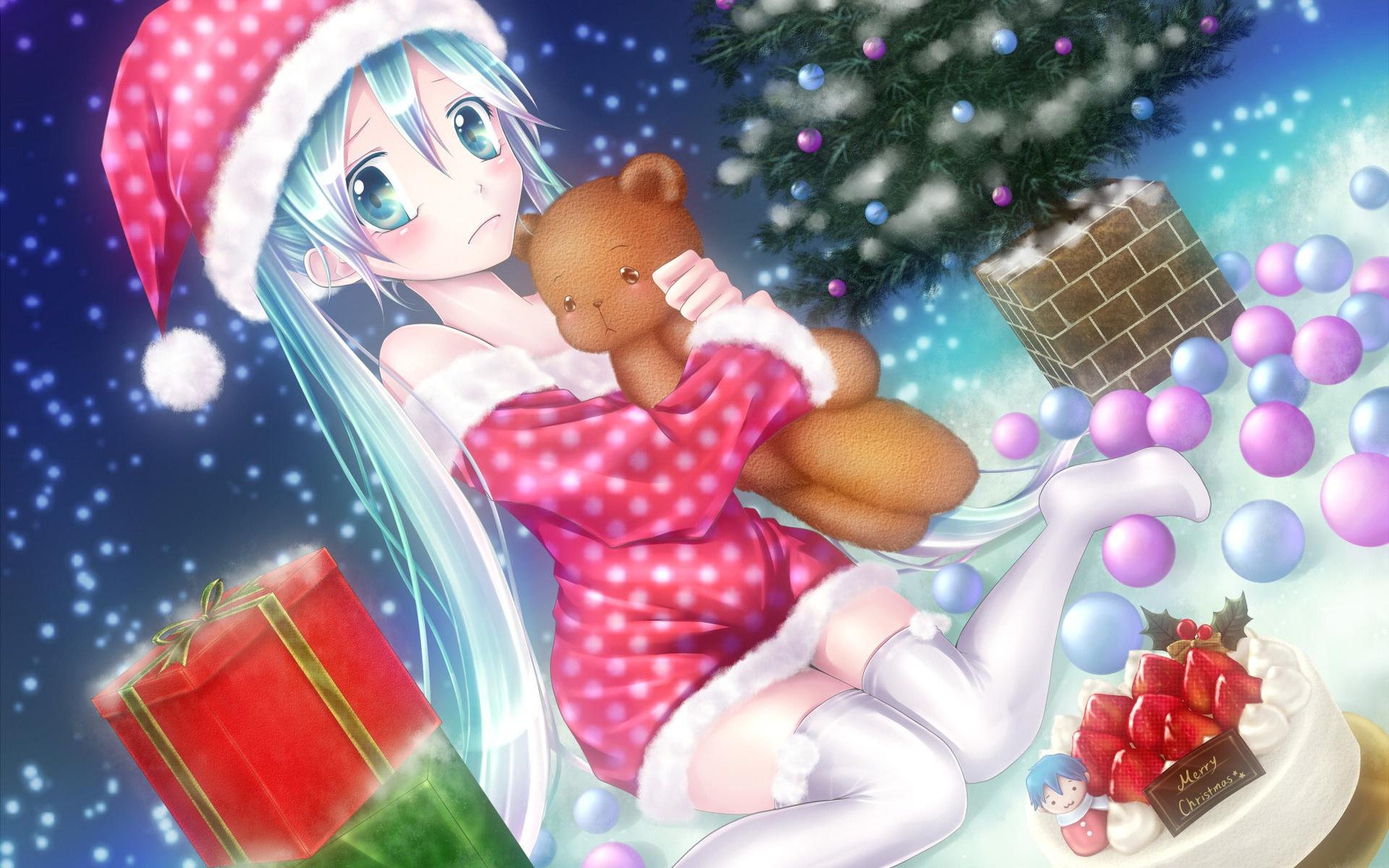 Anime Christmas Wallpaper.Wallpaper Anime Girl On The Christmas Eve 1920x1200 Hd