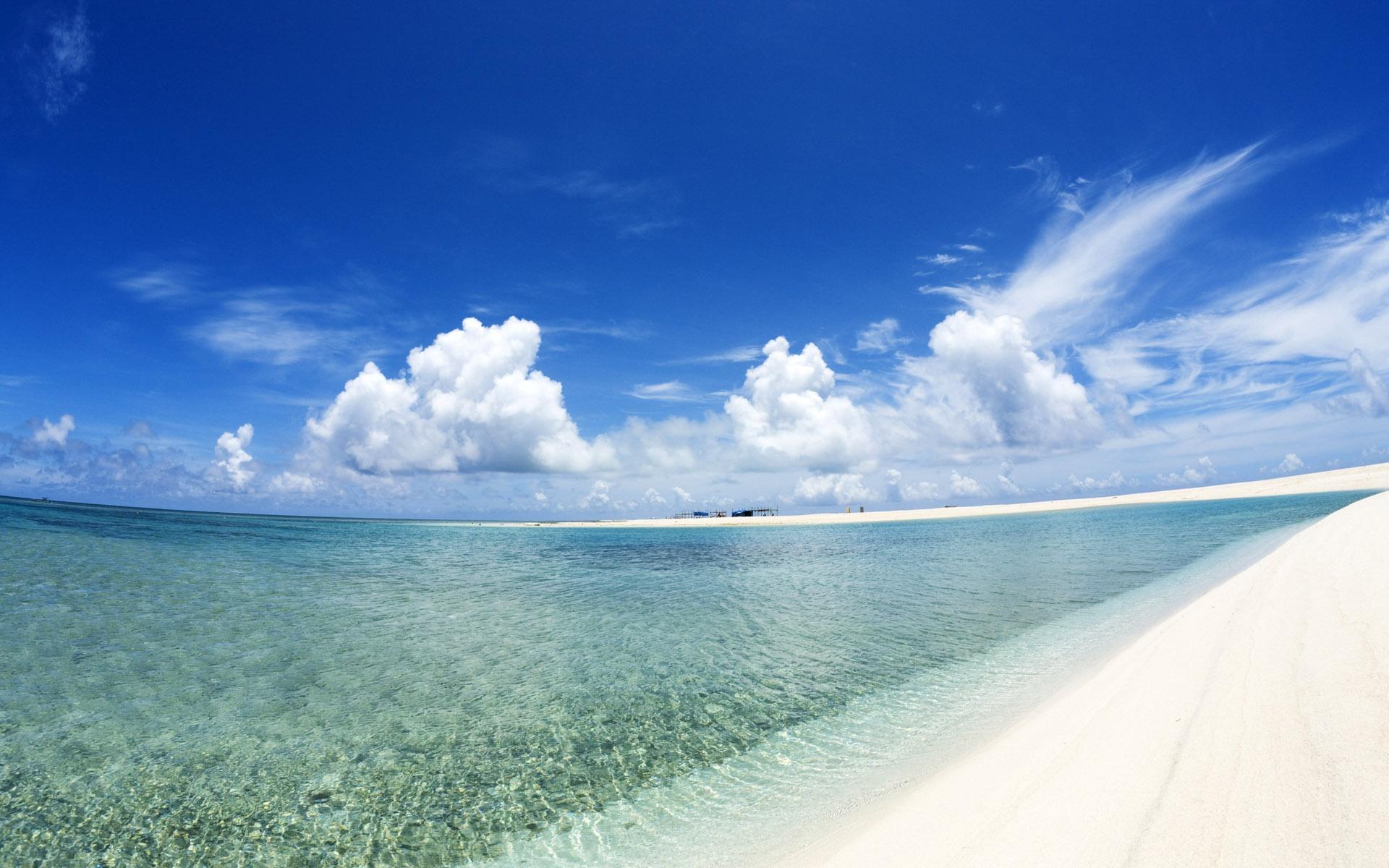 Papéis De Parede Céu Azul E Nuvens Brancas De Praia