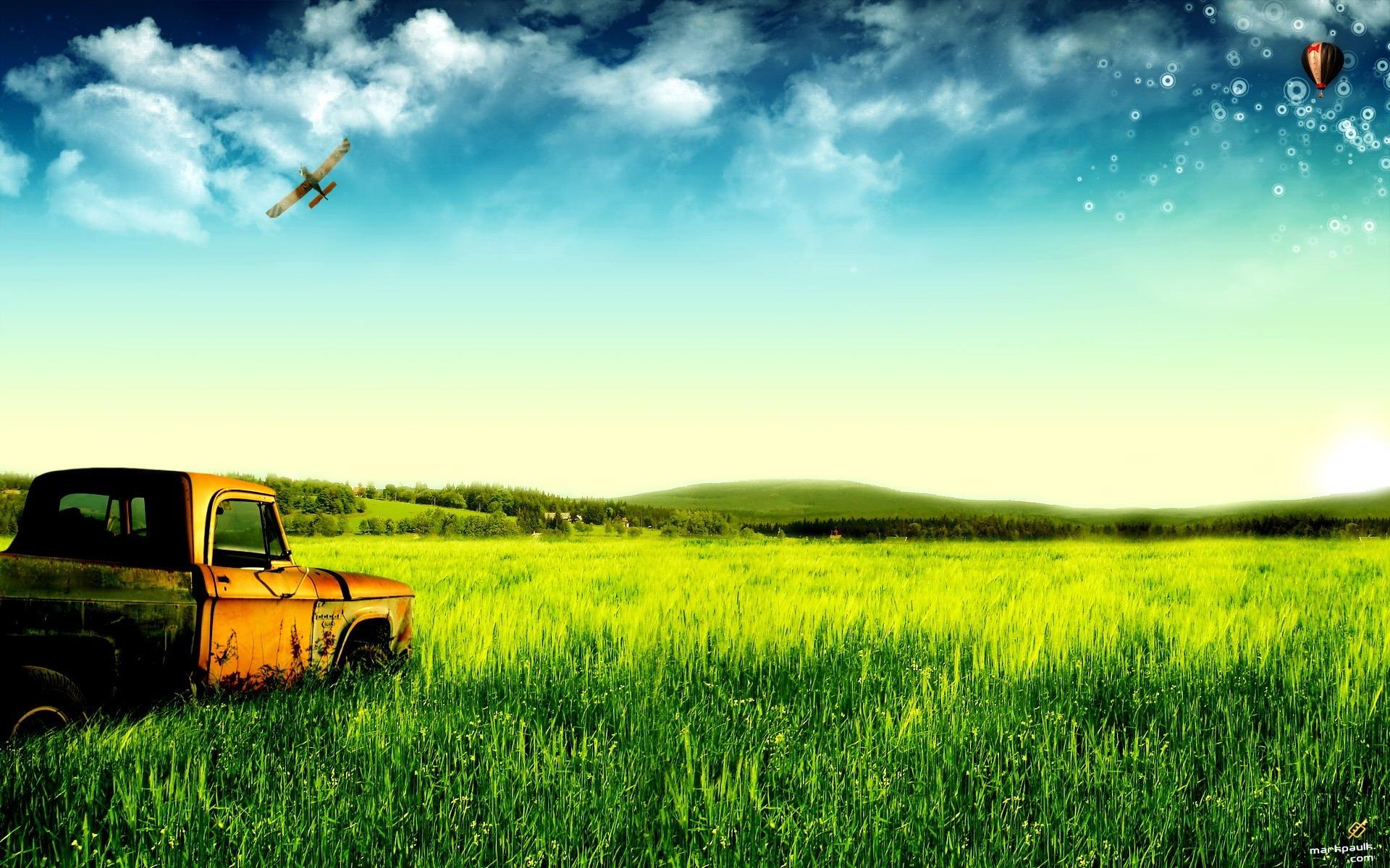 ... de verdes pastos y camiones viejos Fondos de pantalla - 1920x1200