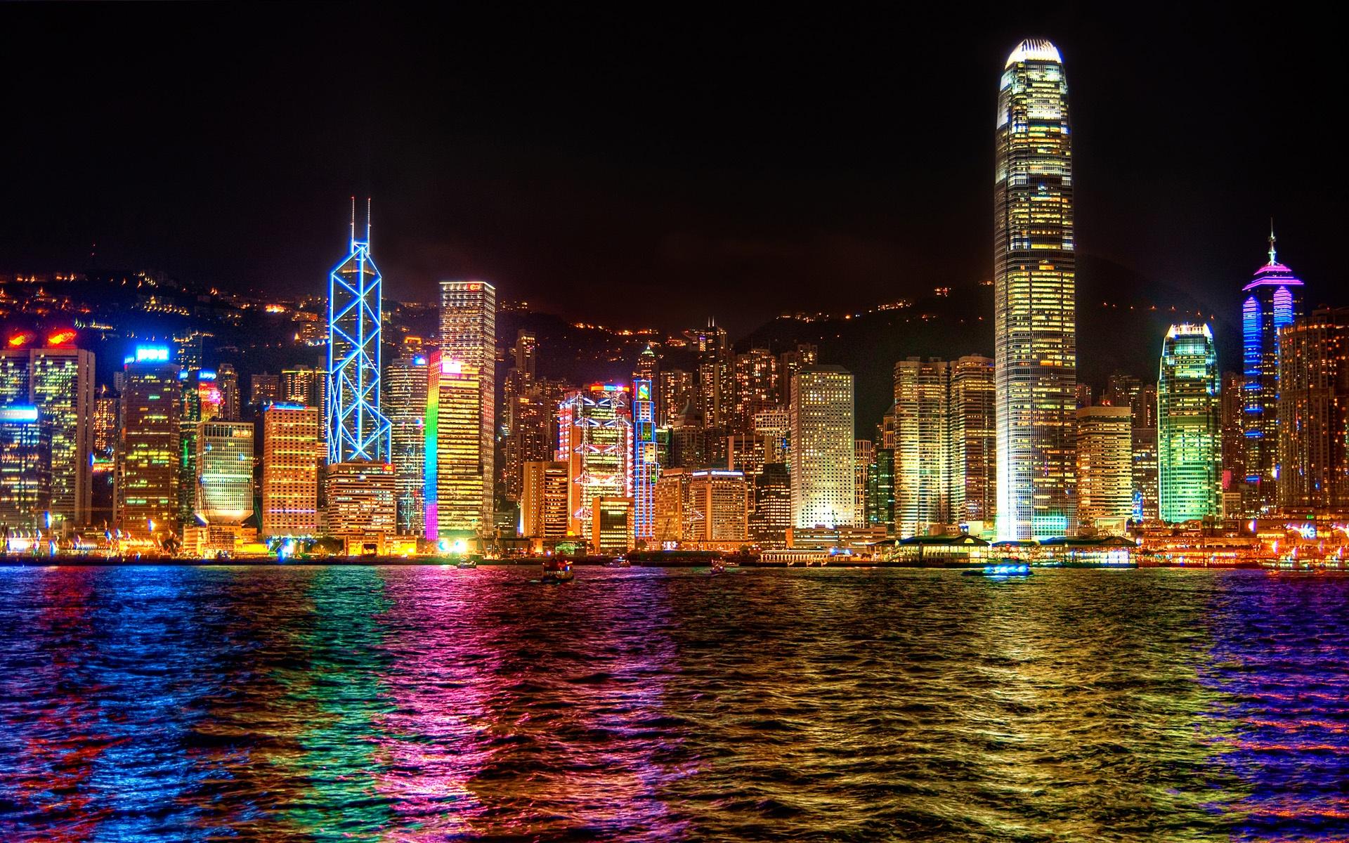 Download Wallpaper 1920x1200 Hong Kong city lights at ...