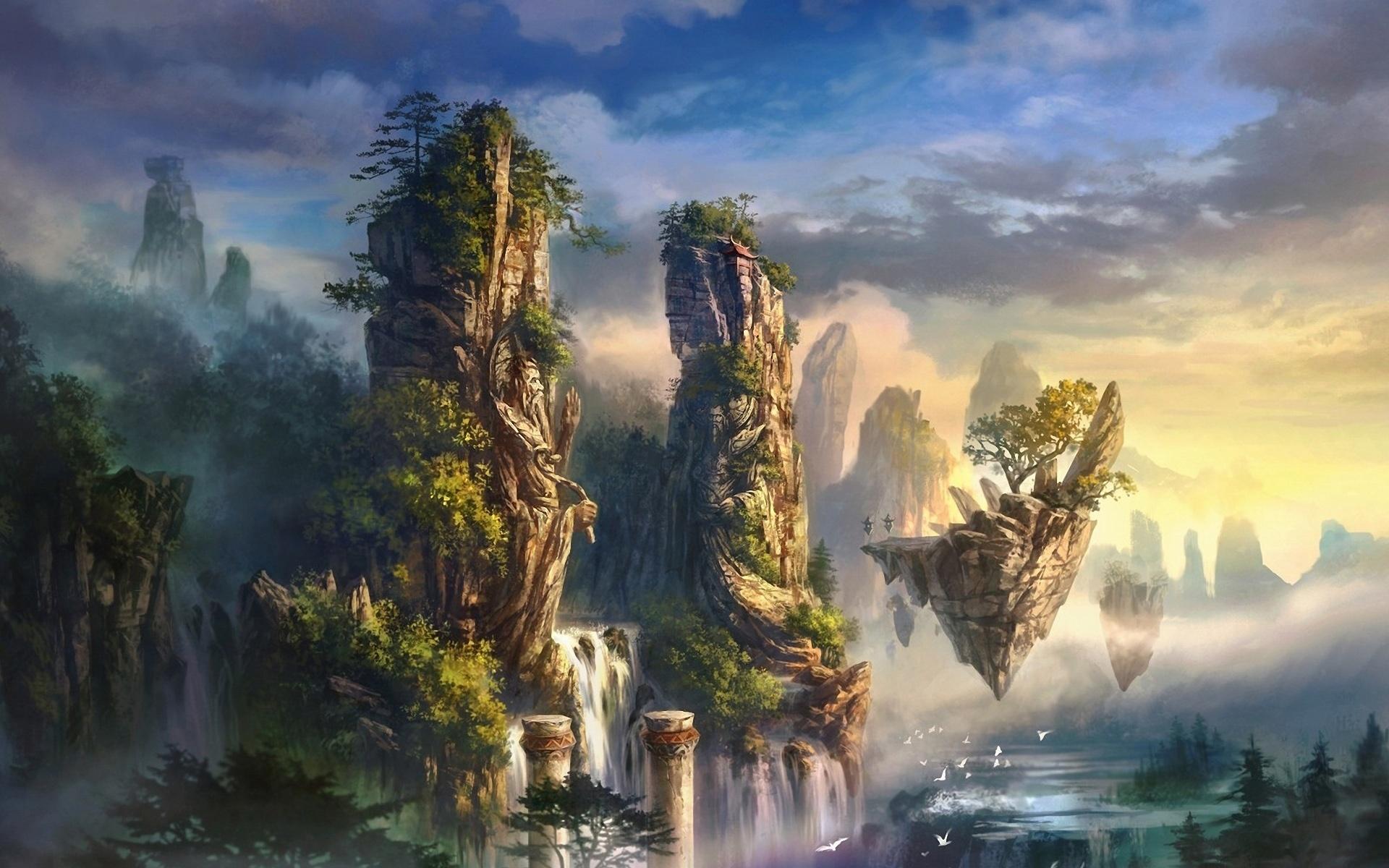 Wallpaper Art Landscape Mountain Rock Waterfall 1920x1200