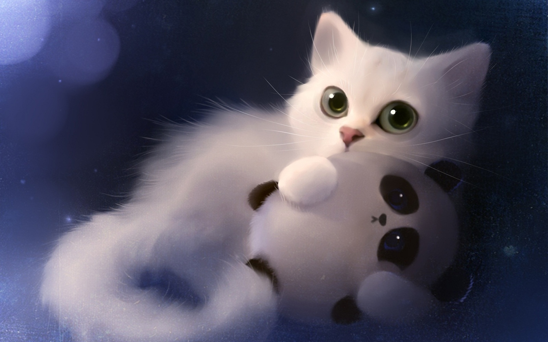 Wallpaper Art Painting White Cat And Toy Panda 1920x1200 Hd