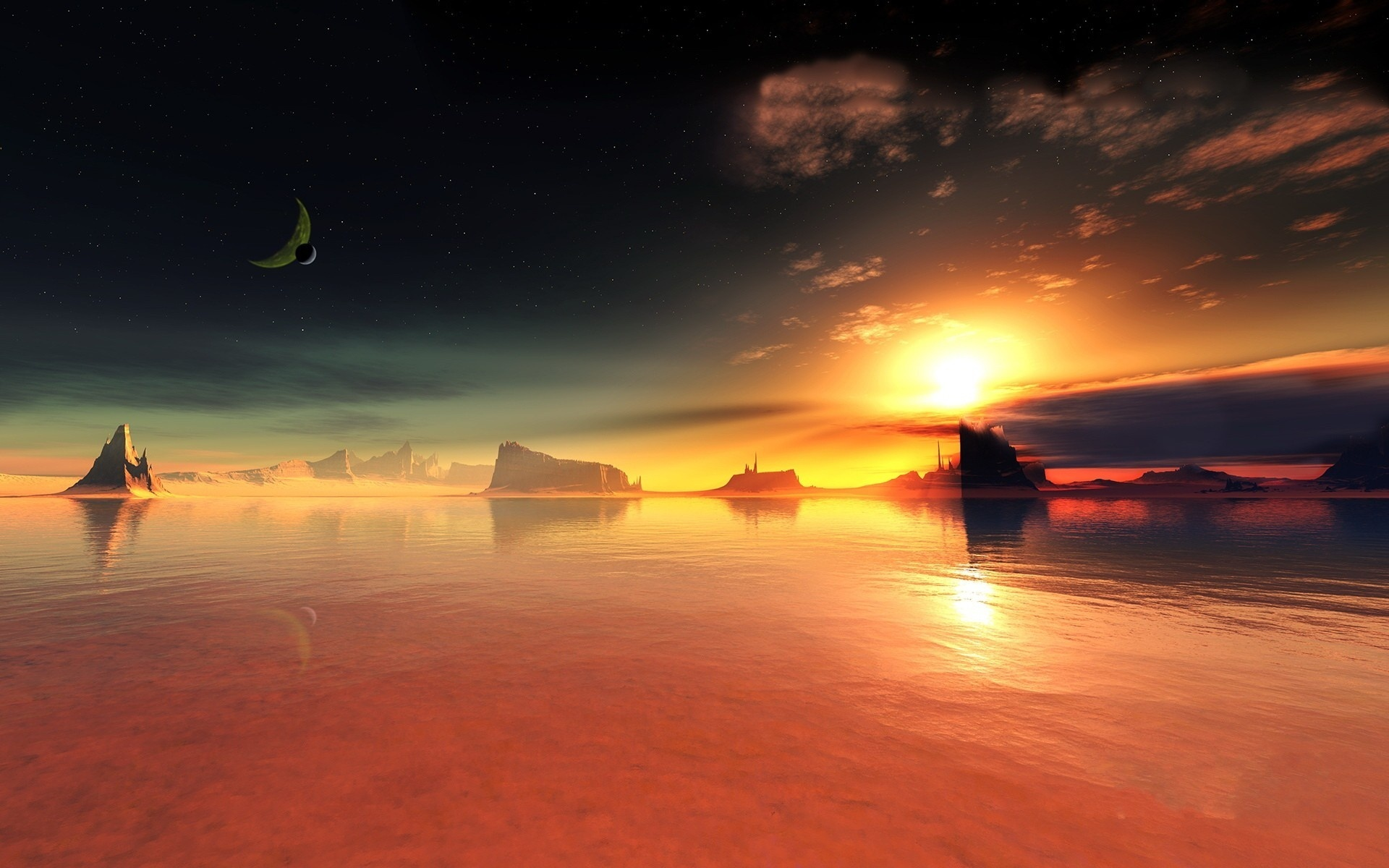 Wallpaper Red Lake Sunset 1920x1200 Hd Picture Image