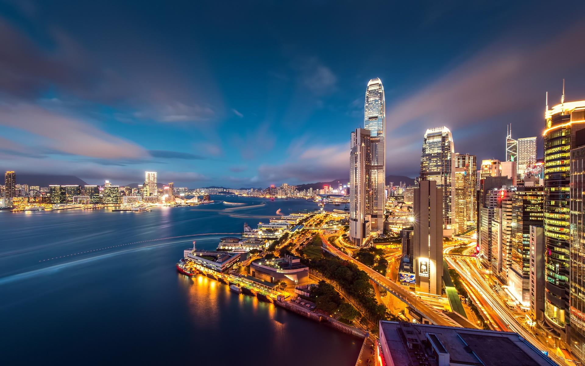Wallpaper Beautiful Night View Of Hong Kong 1920x1200 Hd Picture Image