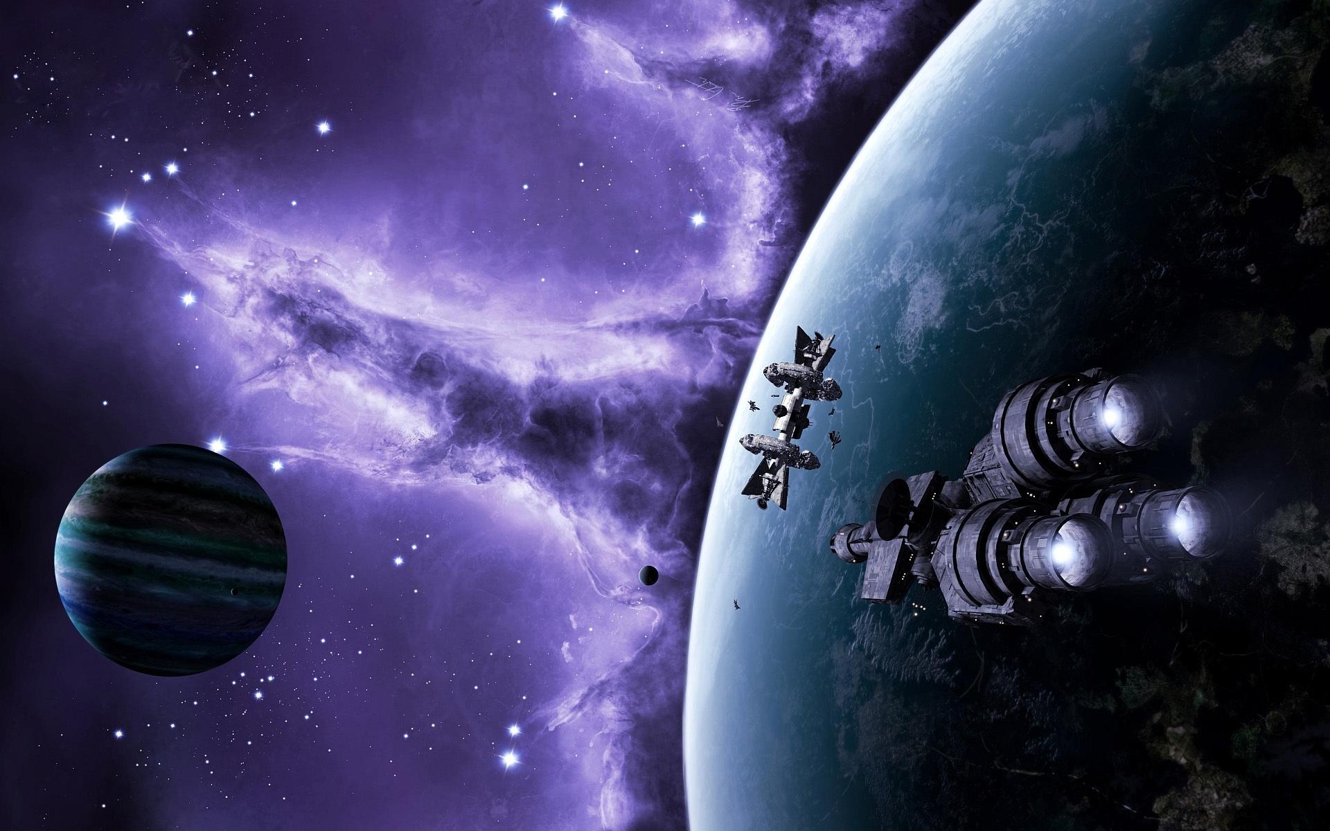 Обои Красная планета горизонт фантастика космос картинки на рабочий стол на тему Космос - скачать скачать