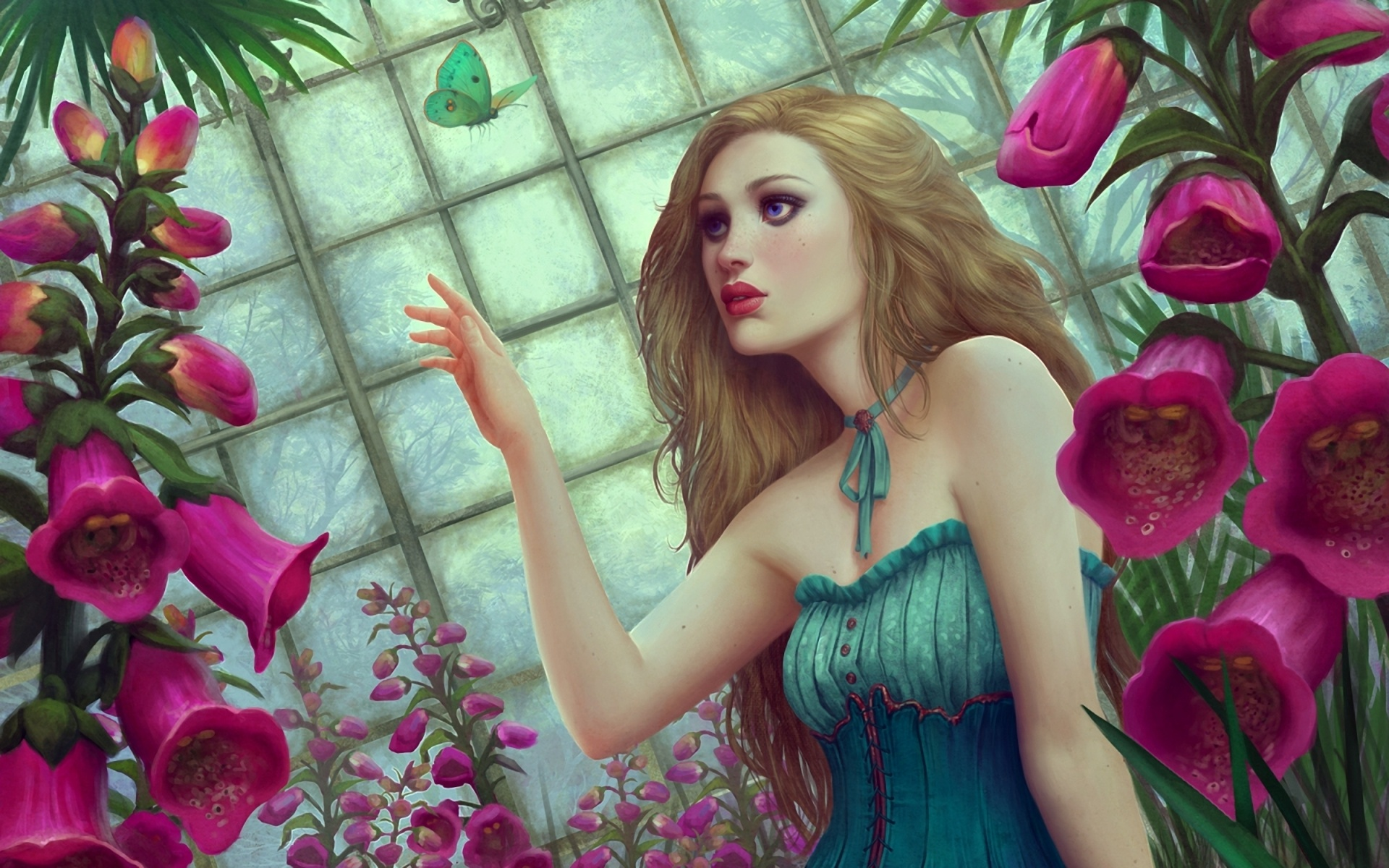 wallpaper flowers butterfly fantasy girl 1920x1200 hd picture, image