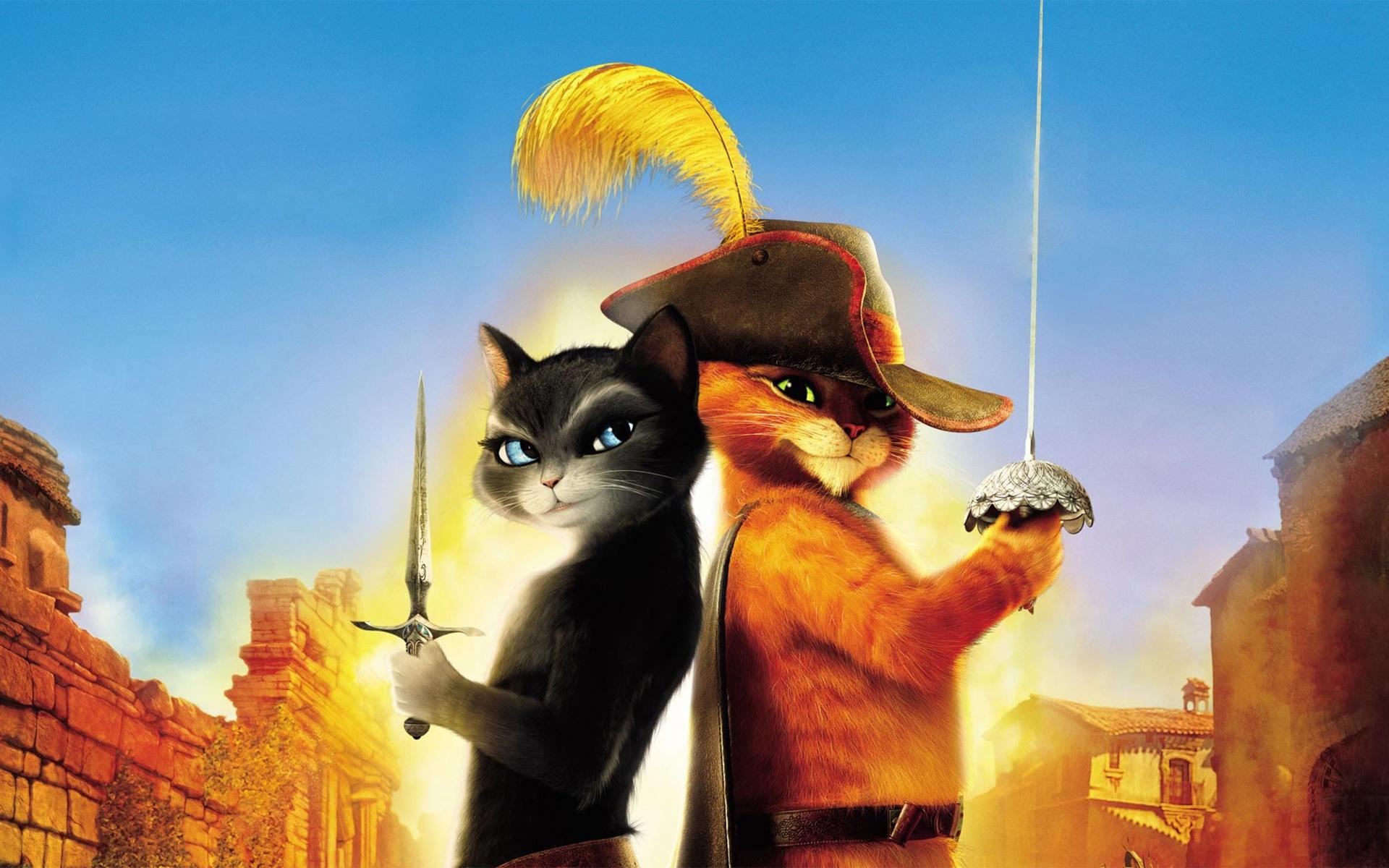 Шрэк с котом в городе скачать